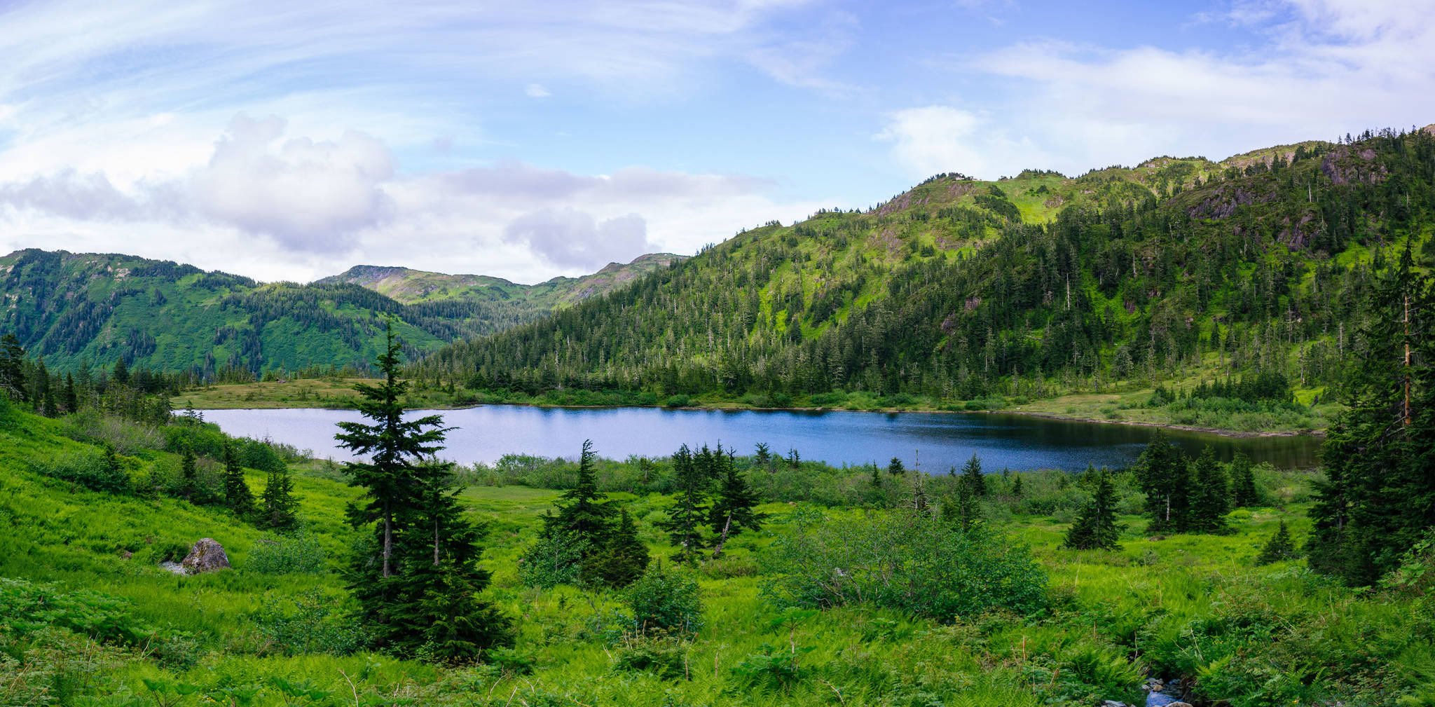 A view of Cropley Lake, from one of the streams feeding into it, on Sunday, June 24, 2018. (Gabe Donohoe   For the Juneau Empire)