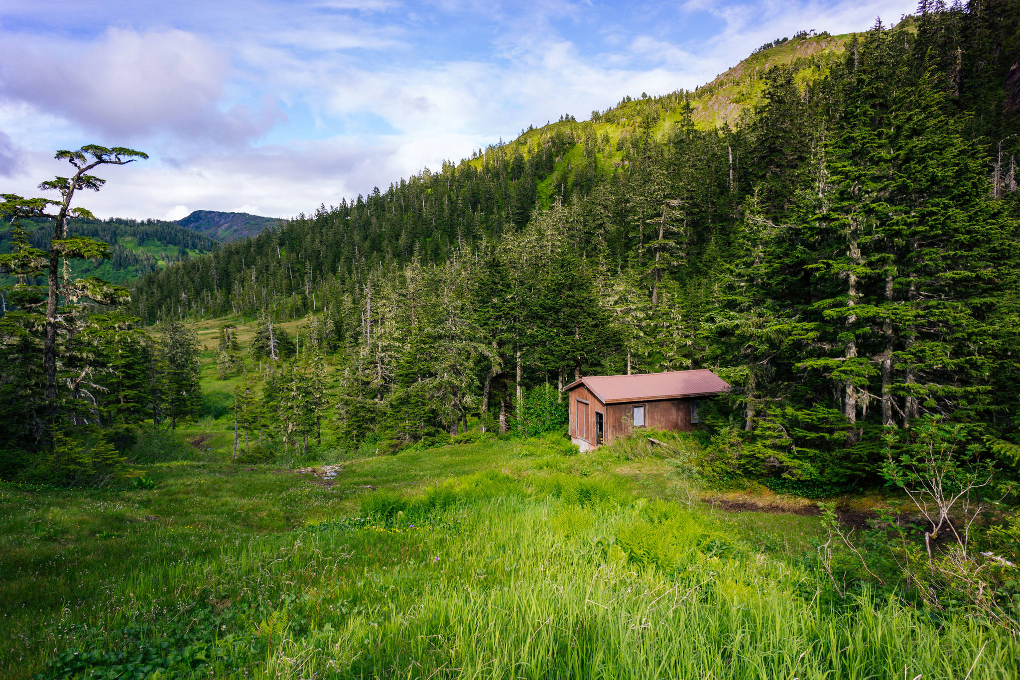 A seemingly abandoned Eaglecrest cabin on the way to Cropley Lake. (Gabe Donohoe | For the Juneau Empire)