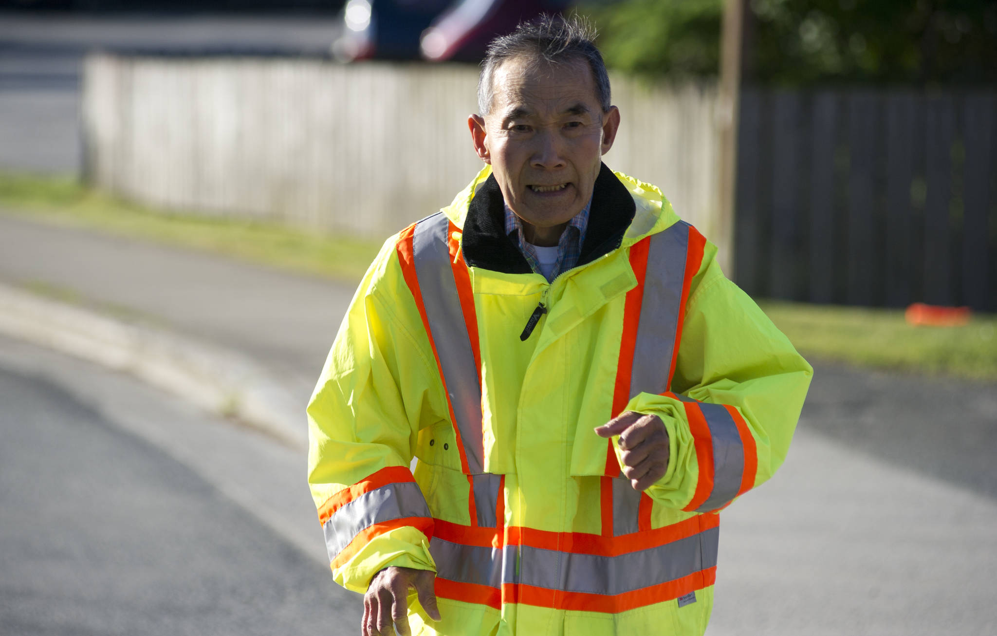 """Richard """"Dick"""" Goto, 75, finishes his 2-mile run on James Boulevard in the Mendenhall Valley on Friday. (Nolin Ainsworth 