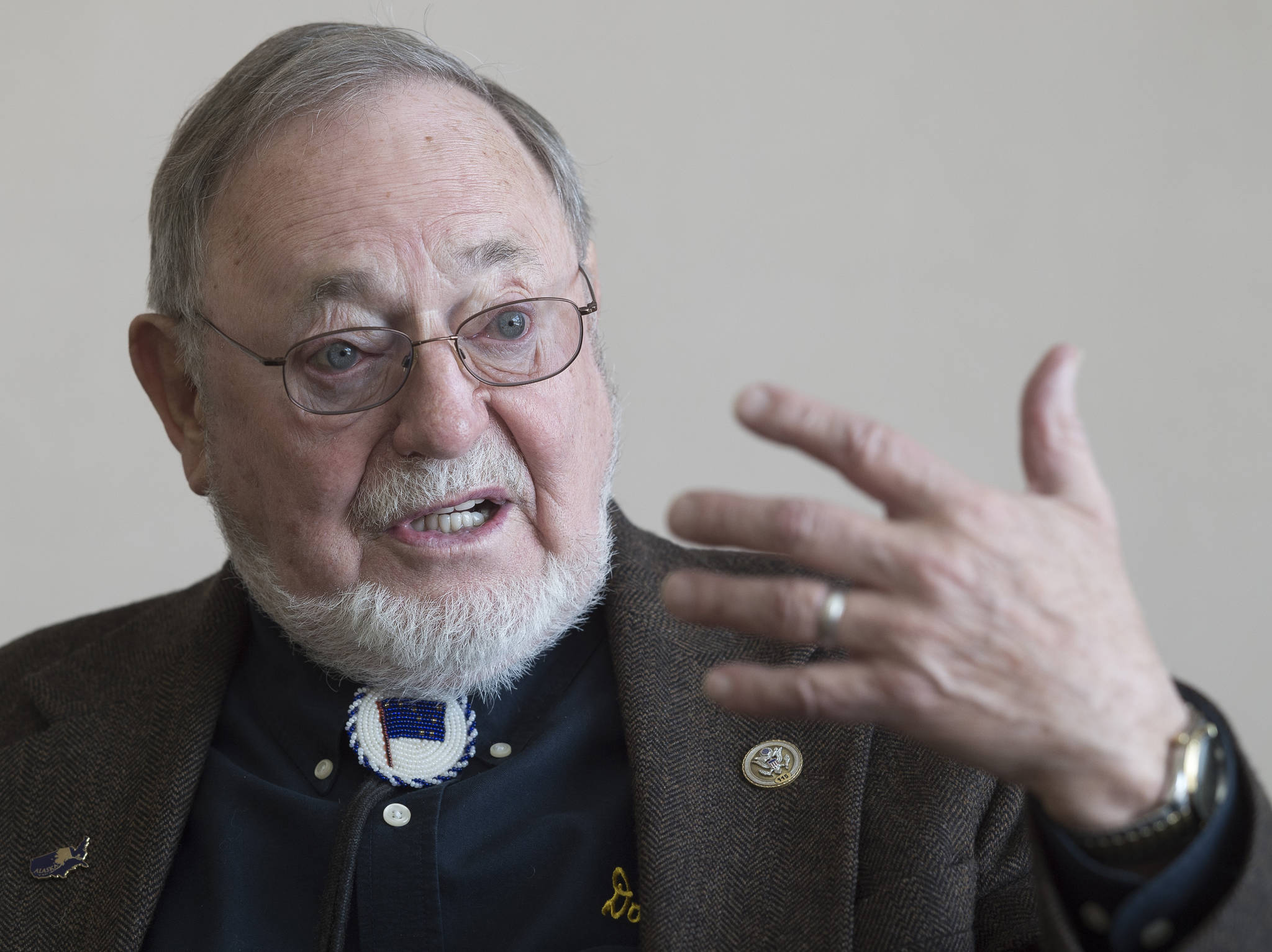 U.S. Rep. Don Young speaks during an interview at the Juneau Empire on Feb. 21, 2018. (Michael Penn | Juneau Empire File)