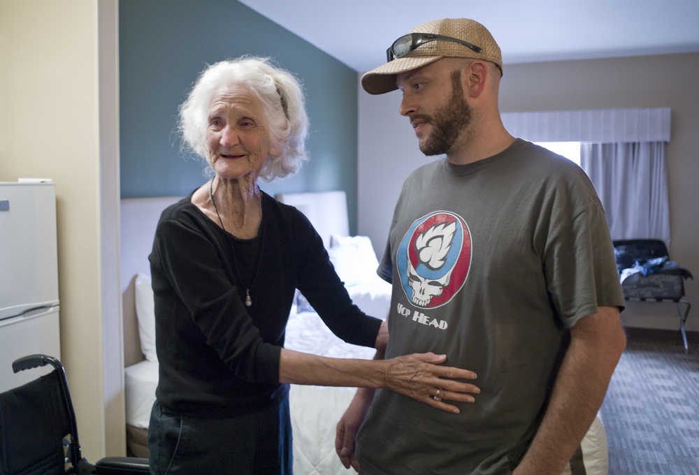 """Earlene """"Memaw"""" Branson, 83, mother to Alaskan Bush People star Ami Brown, gives thanks to her great nephew, Chuck Gilbert, for helping on her journey from Texas to Alaska in hopes of reuniting with her daughter this week. They were interviewed at Extended Stay America in Juneau after returning from Hoonah on Wednesday."""