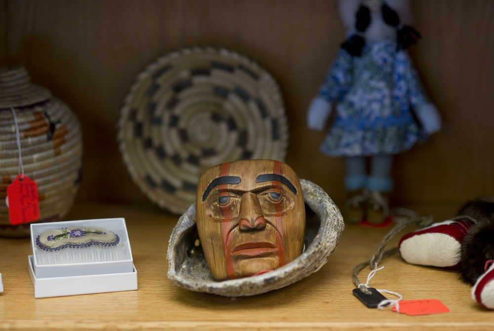 A mask carved by Don Morgan sits in his shop Haa Shagoon on Ferry Way, Tuesday. Morgan produces Northwest Coast art, which is placed alongside Alaska Native-produced art for sale in the shop.