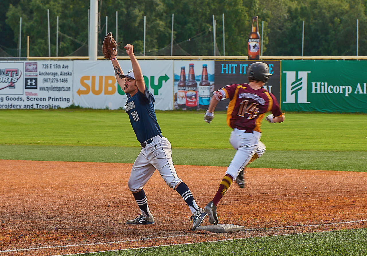 Juneau Post 25 first baseman Kasey Watts celebrates the team's state championship after the last out of the game against Dimond Post 21 on Tuesday at Mulcahy Stadium in Anchorage. (Courtesy Photo   Jeremy Ludeman)