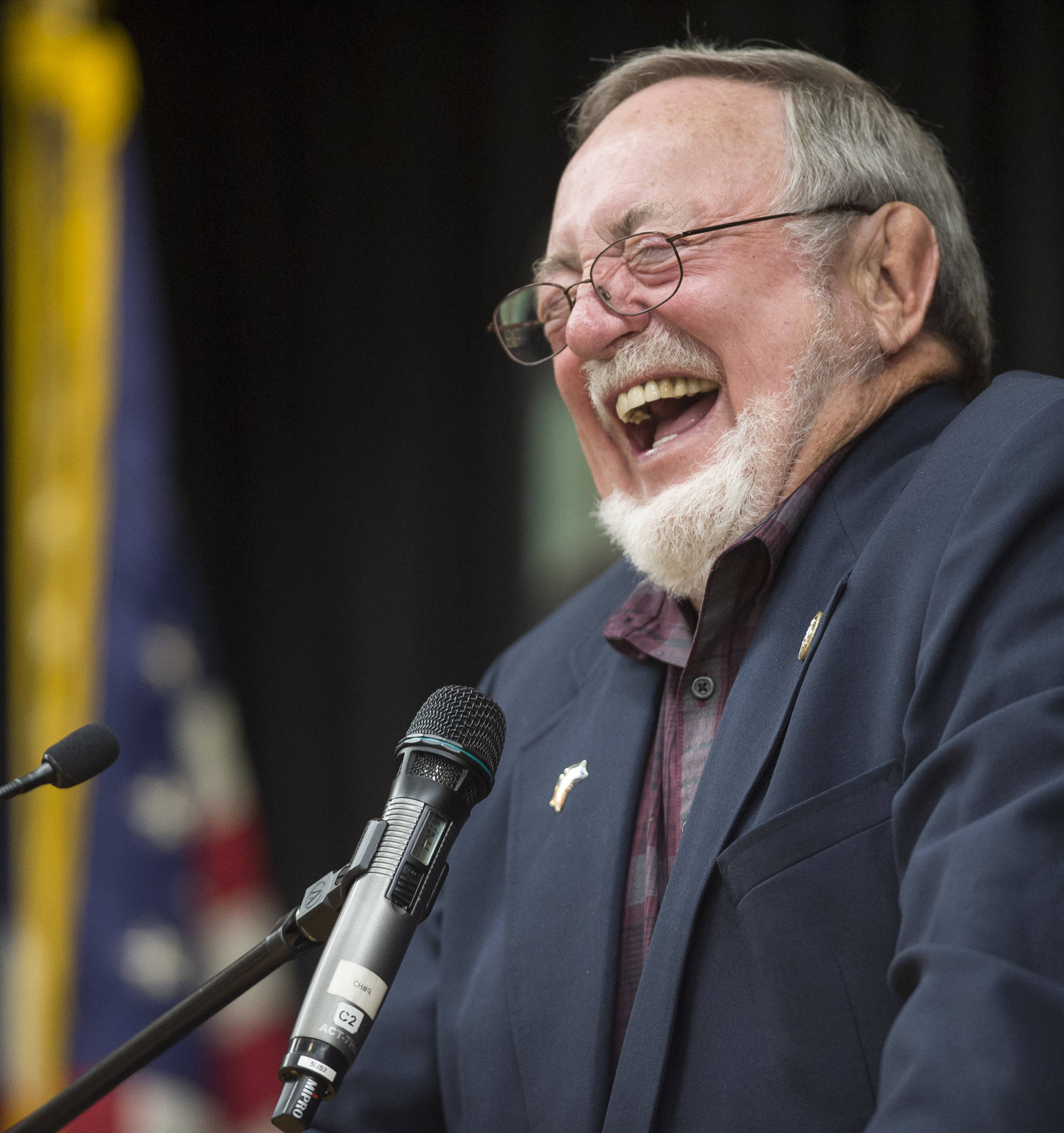 U.S. Rep. Don Young, R-Alaska, laughs while responding to a question at the Native Issues Forum at the Elizabeth Peratrovich Hall on Wednesday, August 1, 2018. (Michael Penn | Juneau Empire)