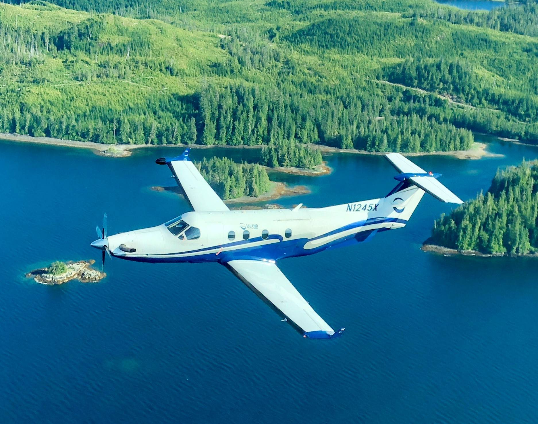 An Island Air Express PC-12 flies over Southeast Alaska. (Island Air Express | Courtesy Photo)