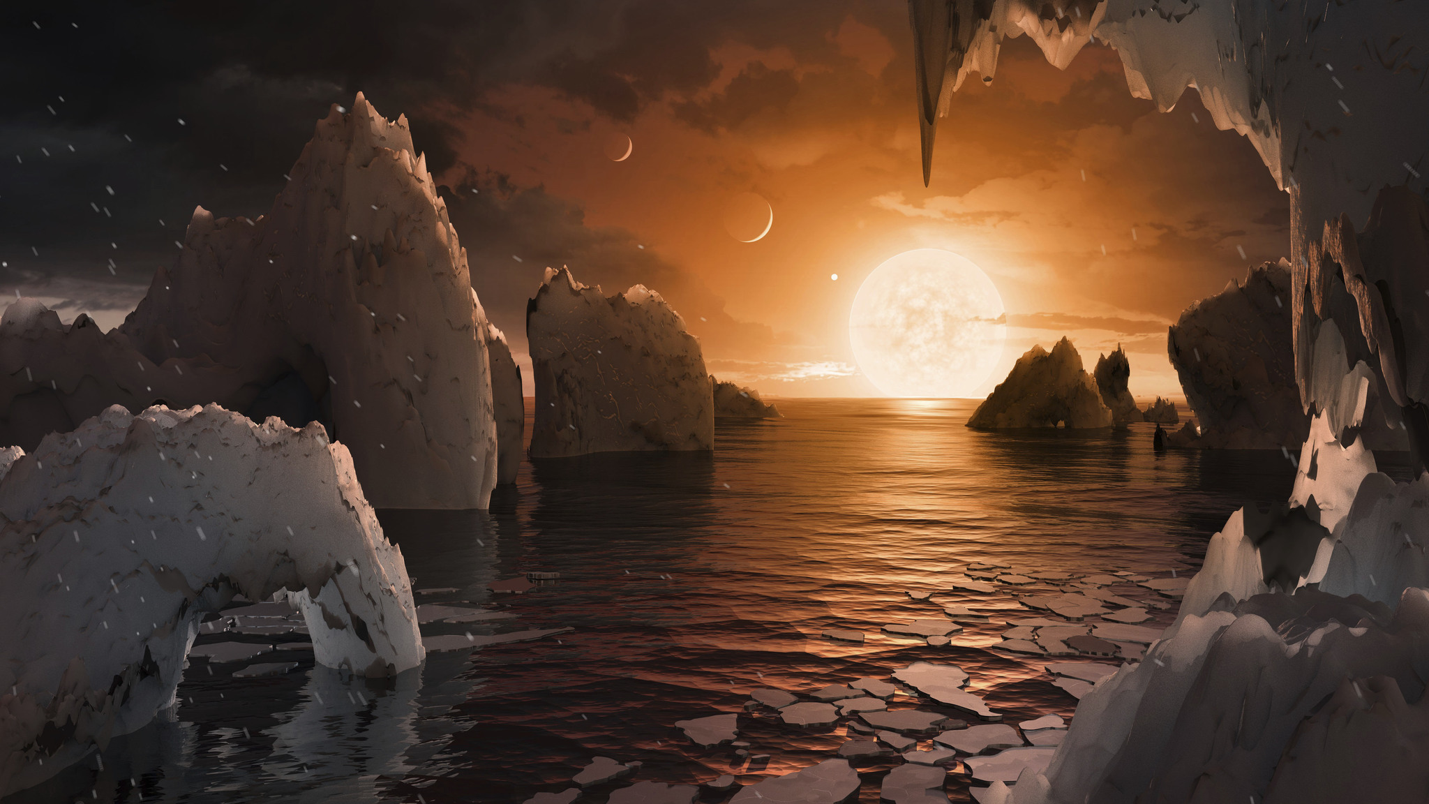 This image provided by NASA/JPL-Caltech shows an artist's conception of what the surface of the exoplanet TRAPPIST-1f may look like, based on available data about its diameter, mass and distances from the host star. The planets circle tightly around a dim dwarf star called Trappist-1, barely the size of Jupiter. Three are in the so-called habitable zone, where liquid water and, possibly life, might exist. The others are right on the doorstep. (NASA/JPL-Caltech via the Associated Press)