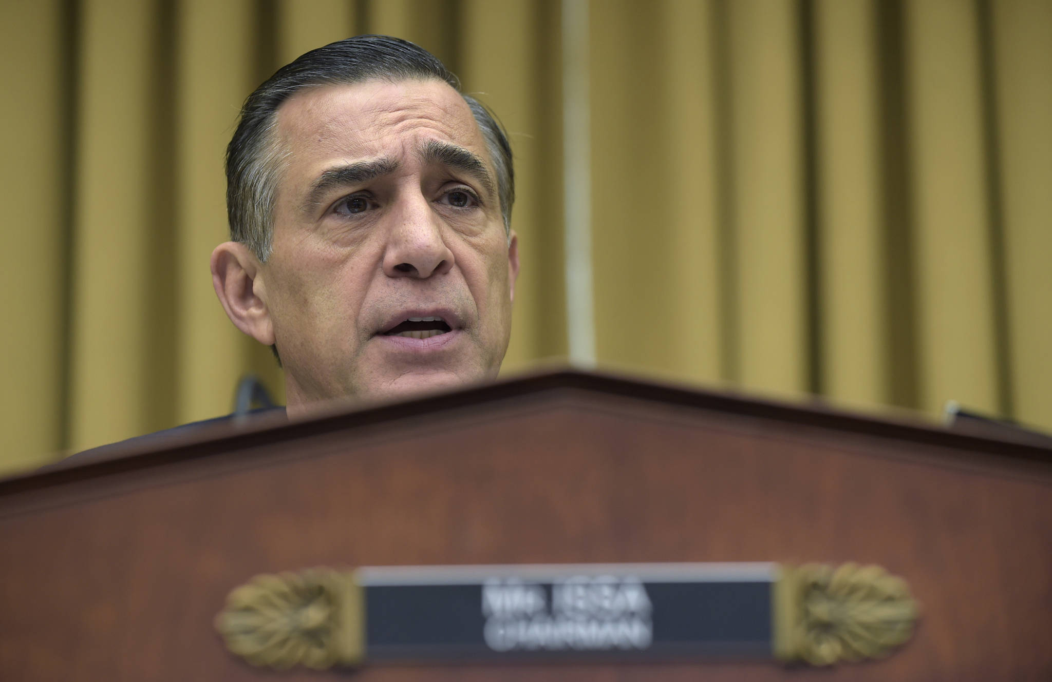 Rep. Darrell Issa, R-California, the chairman of the House Judiciary subcommittee on Courts, Intellectual Property, and the Internet speaks during a hearing on Capitol Hill Thursday on the restructuring the U.S. Court of Appeals for the Ninth Circuit.. (Susan Walsh | The Associated Press)