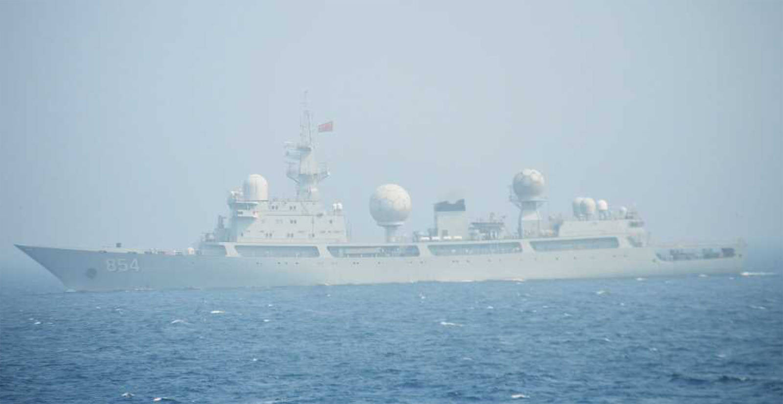The Tianlangxing, a Chinese People's Liberation Army-Navy surveillance ship, passed by Japan on July 2, and stayed off the Kodiak coast during the July 11th test of a U.S. missile defense system. (Courtesy Japanese Ministry of Defense)