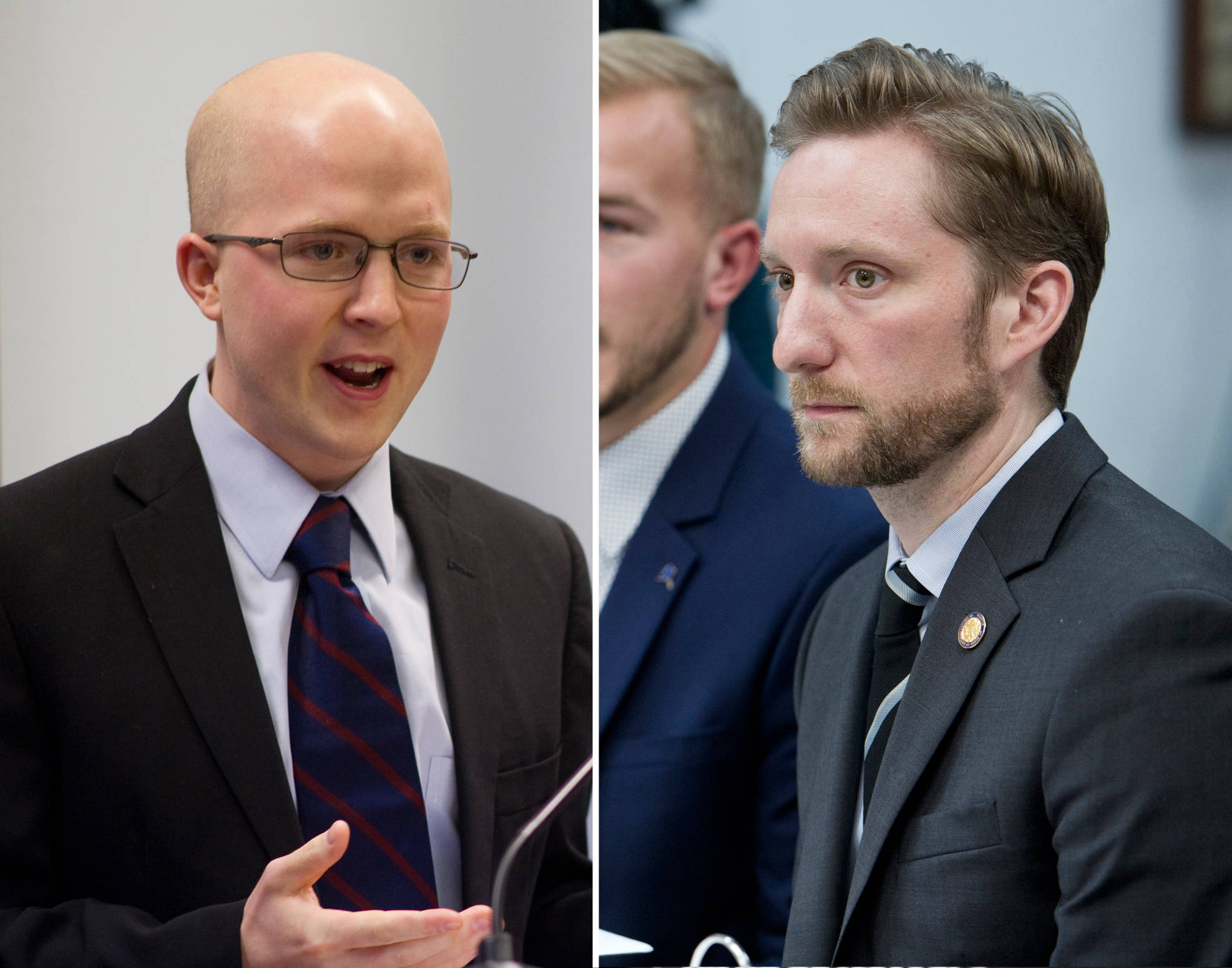 JUNEAU EMPIRE COMPOSITE  Rep. Jonathan Kreiss-Tomkins, D-Sitka, left, and Rep. Jason Grenn, I-Anchorage, right, are two of the three co-chairs (with Bonnie Jack of Anchorage) of a new ballot initiative that targets legislative prerogatives.