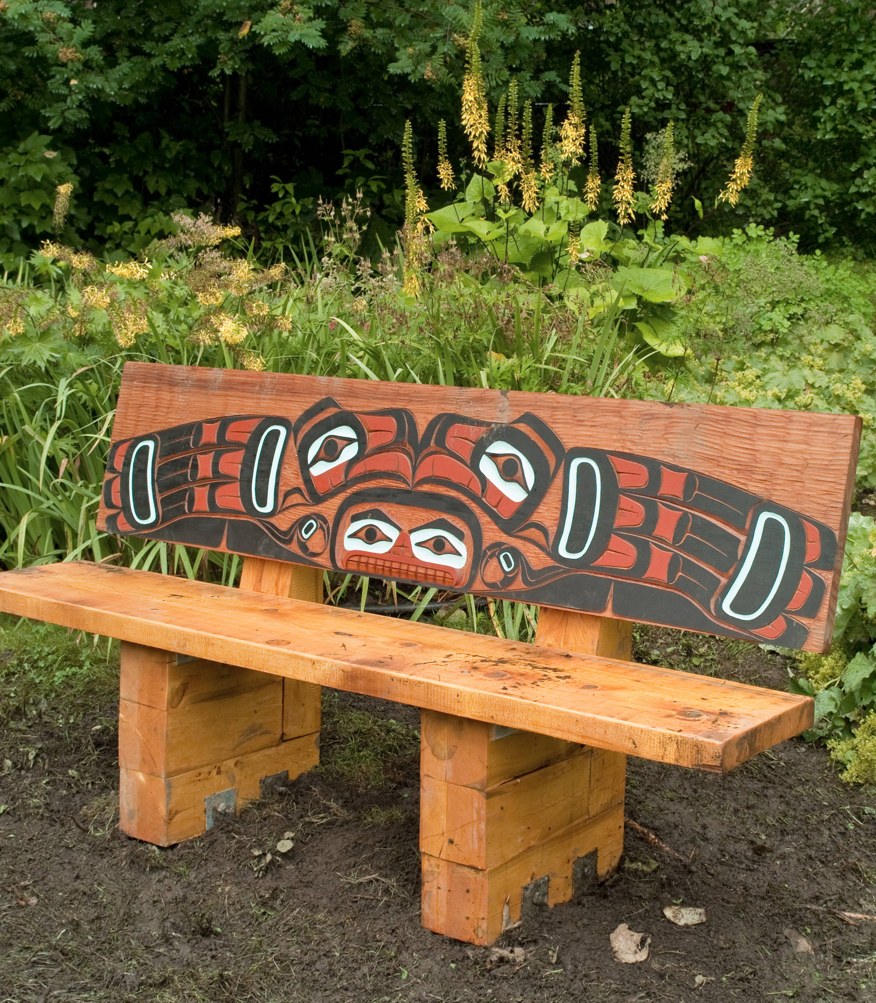 A newly painted cedar bench was recently installed at the Juneau-Douglas City Museum. (Michael Penn | Juneau Empire)