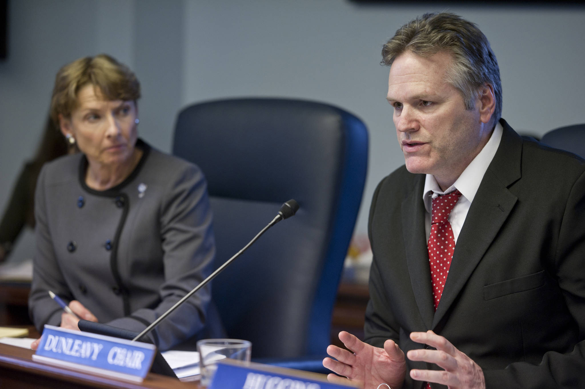 In this March 2016 photo, Sen. Mike Dunleavy, R-Wasilla, questions Dr. Susan McCauley, Interim Commissioner of the Alaska Department of Education and Early Development, during a Senate Education Committee on SB 191 at the Capitol. (Michael Penn | Juneau Empire File)