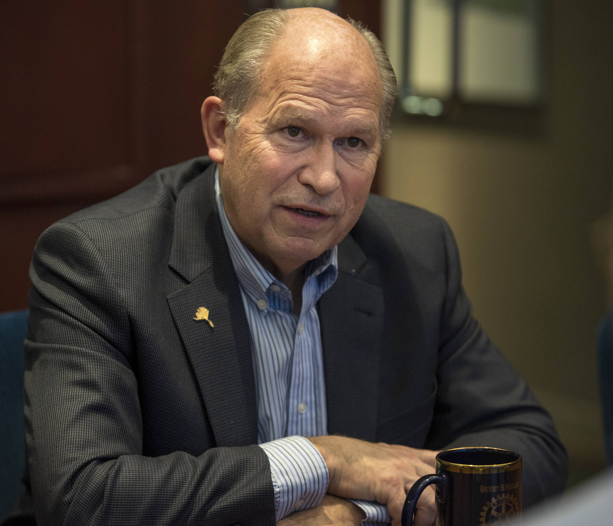 In this Dec. 2015 photo, Gov. Bill Walker speaks in an interview at the Juneau Empire. (Michael Penn | Juneau Empire File)