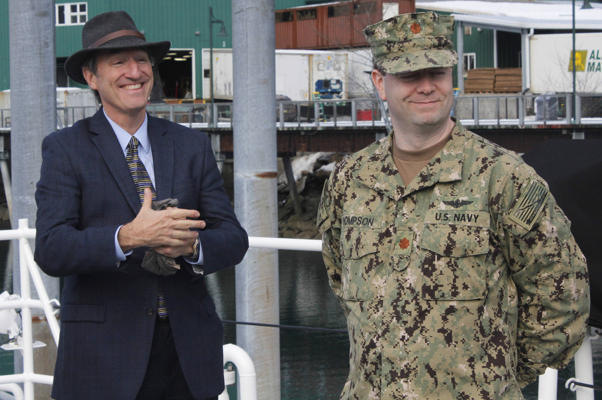 Marvin Heinze, left, the Deputy Director of Operations and Plans Mine Warfare Task Force, stands alongside Compact Fleet Maritime Homeland Defense Detachment Alaska Officer-in-Charge James Thompson during a tour of the U.S. Coast Guard Cutter John McCormick on March 13, 2018. (Alex McCarthy | Juneau Empire)
