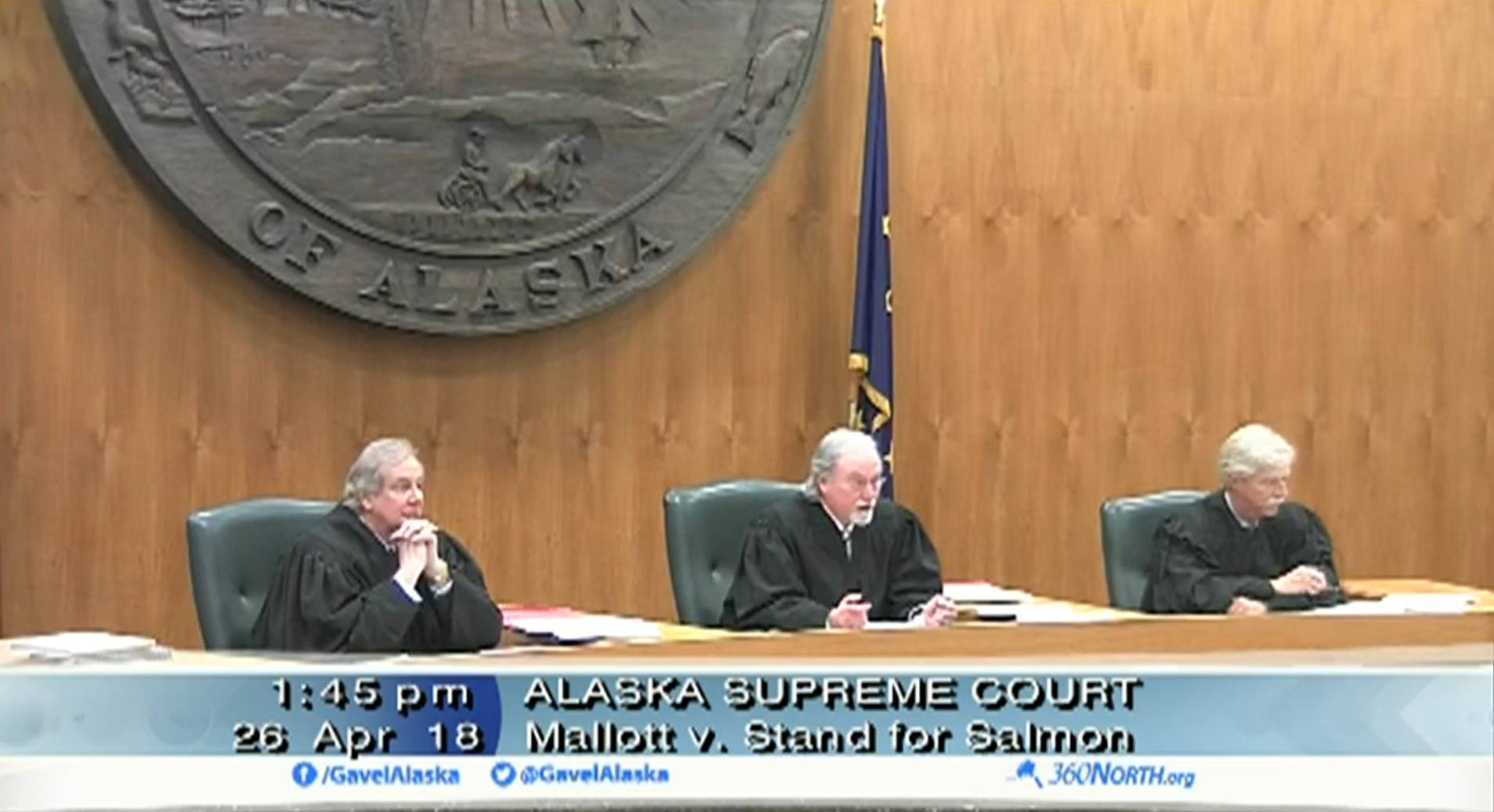 In a screenshot from a video feed provided by 360 North, justices of the Alaska Supreme Court hear oral arguments Thursday, April 26, 2018 on the case Mallott v. Stand for Salmon in Anchorage. (Video capture)