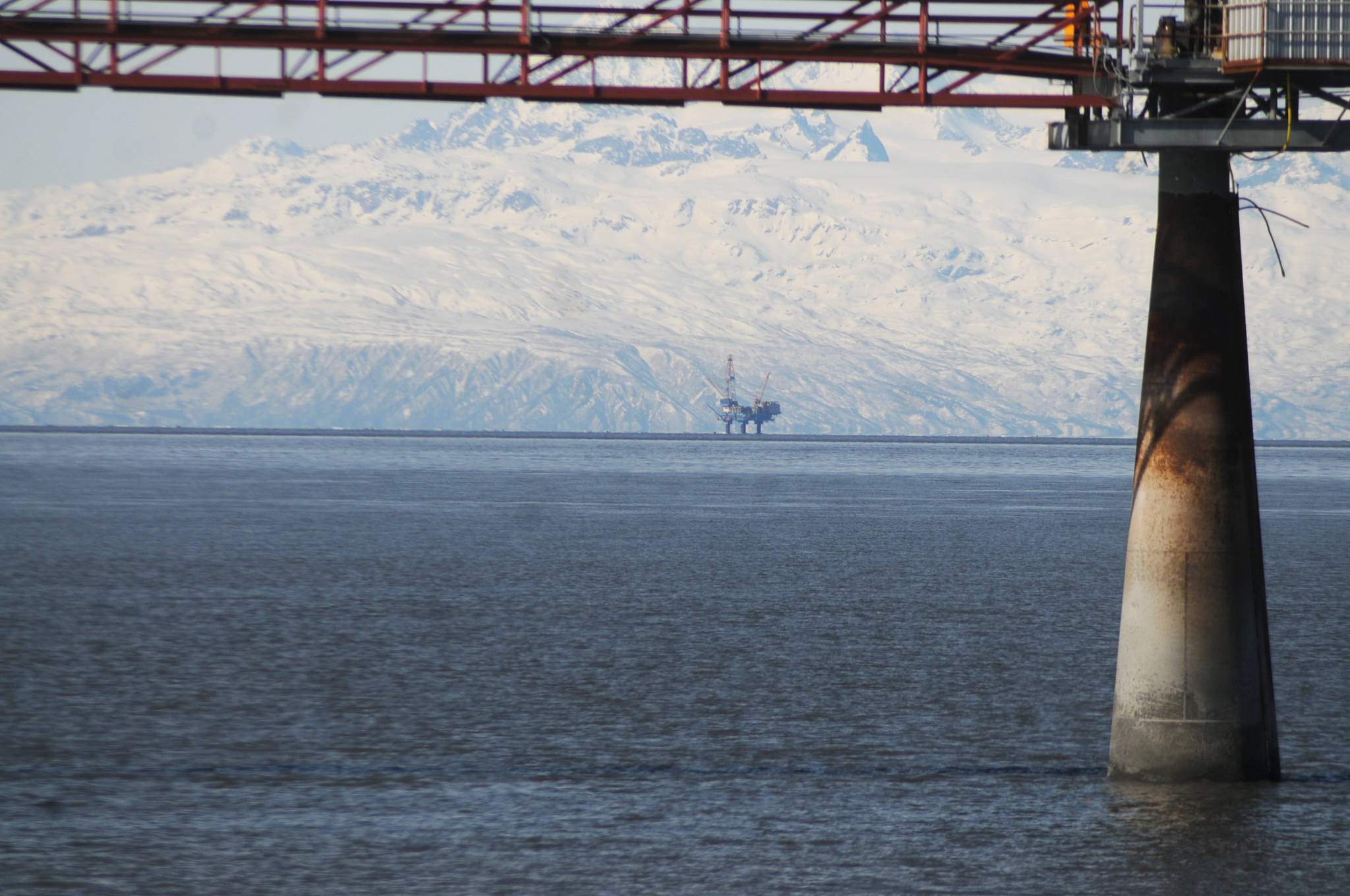 This March 31, 2018 photo shows an offshore drilling platform in Cook Inlet from a beach in Nikiski, Alaska. (Elizabeth Earl | Peninsula Clarion)
