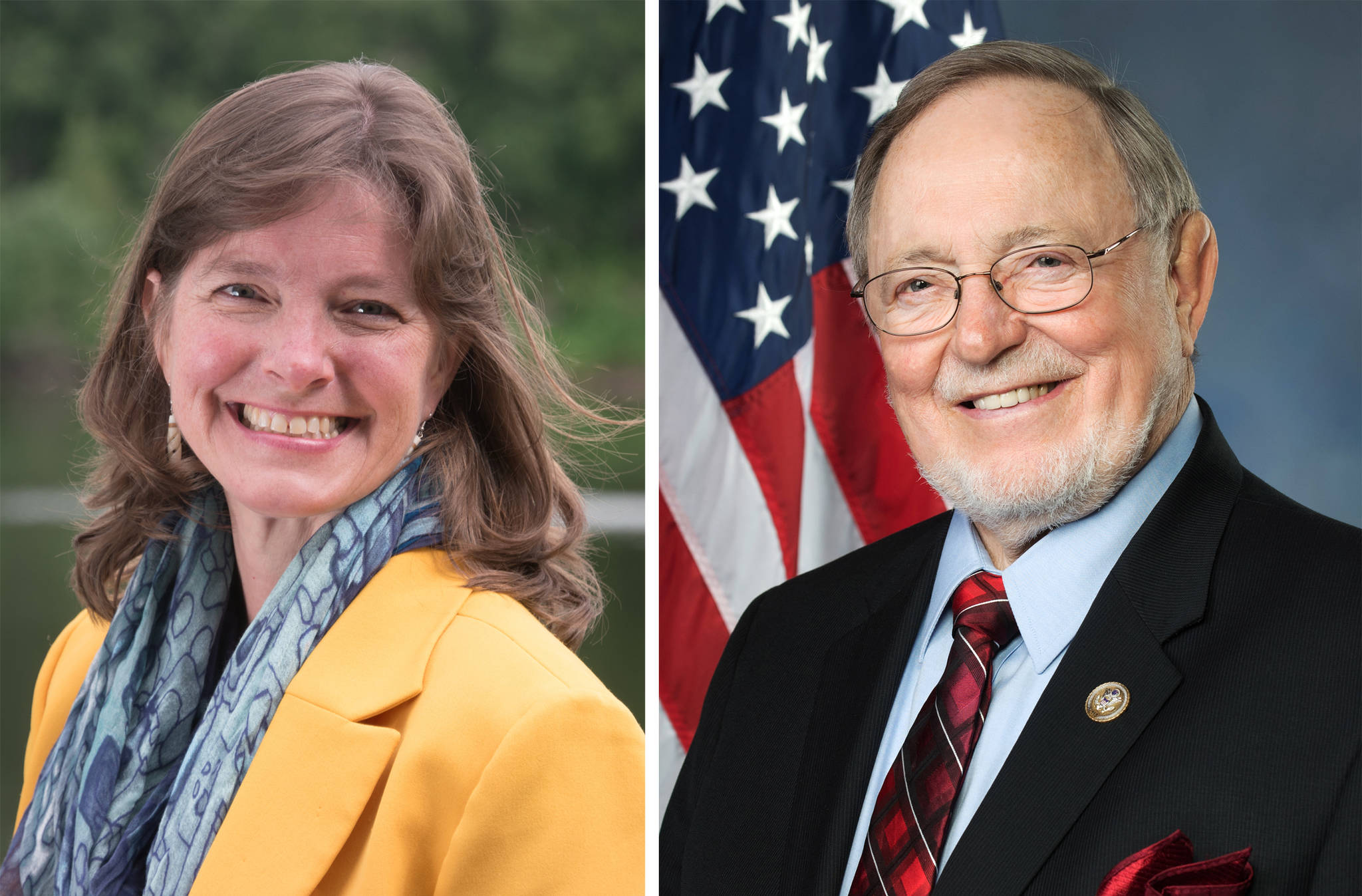 Alyse Galvin, indpendent candidate for U.S. House of Representatives, and Don Young, Republican incumbent candidate for U.S. House, are seen in a composite image using photographs submitted by their campaigns. (Composite image)