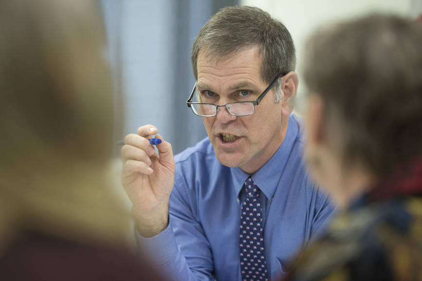Assembly member and legislative candidate Jerry Nankervis chairs a public safety committee meeting at City Hall on Tuesday, Dec. 5, 2017. (Michael Penn | Juneau Empire File)
