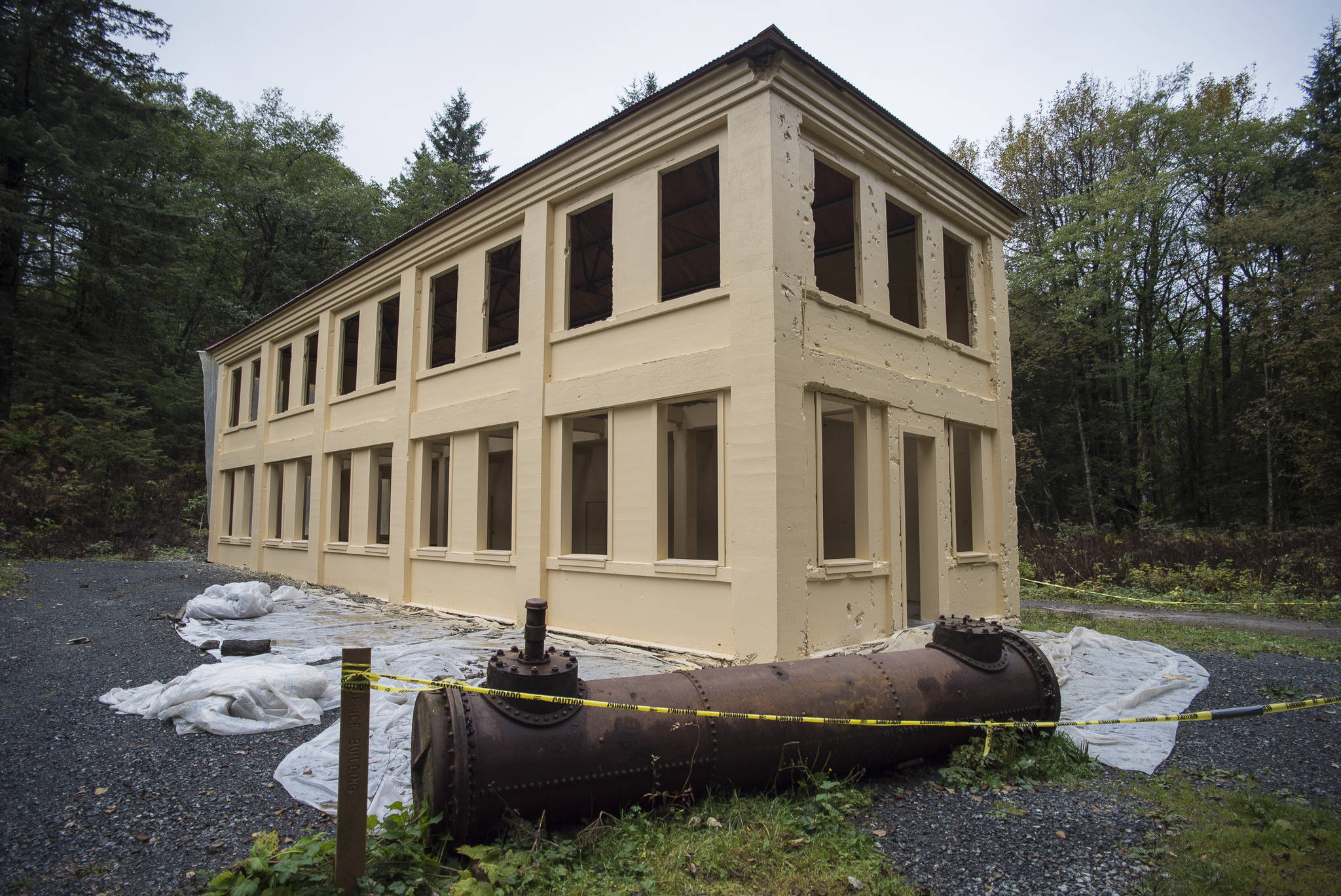 The New Office Building at the Treadwell Mine Historic Area, shown on Thursday, Oct. 11, 2018, has received a new metal roof and a fresh coat of paint inside and out. (Michael Penn | Juneau Empire)