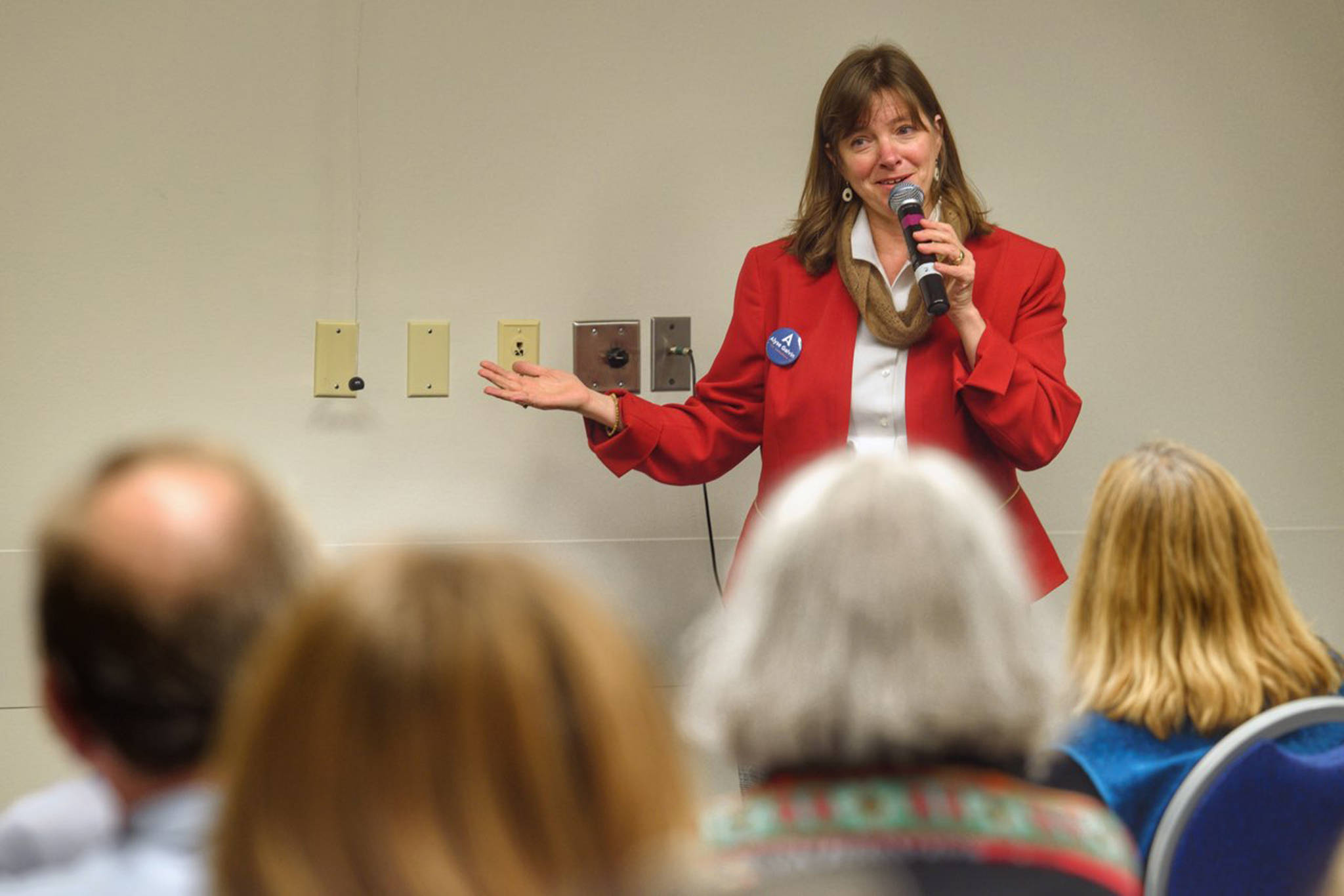 Alyse Galvin, Alaska's independent candidate for U.S. House of Representatives, holds a town hall-style meeting to an overflowing room at Centennial Hall on Sunday, Oct. 21, 2018. (Michael Penn | Juneau Empire)