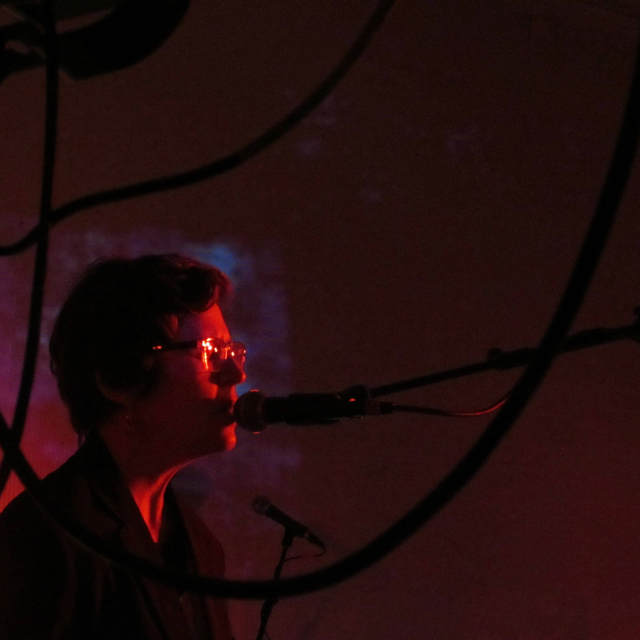 Bridget Kuhar of Playboy Spaceman, sings while framed by wires during the annual Skull Party Friday night at the Rockwell Ballroom. (Ben Hohenstatt   Capital City Weekly)