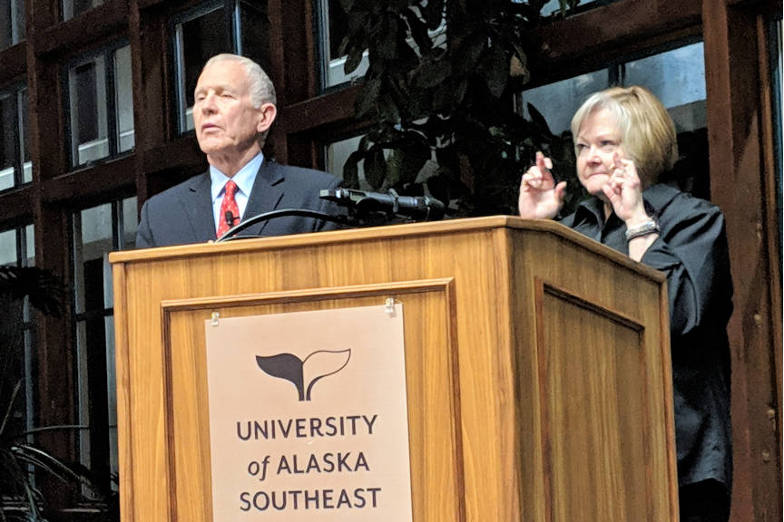 "Dennis and Judy Shepard spoke often about the importance of voting during their evening keynote address at the University of Alaska Southeast Power & Privilege Symposium. Judy Shepard crossed her fingers for luck. ""Today is a new day,"" she said. (Ben Hohenstatt 