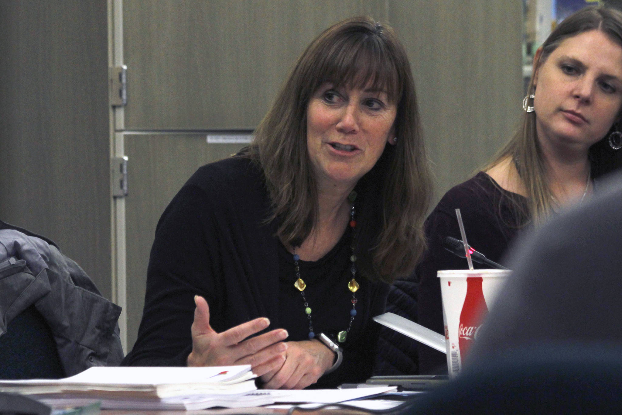 Juneau School District Superintendent Bridget Weiss speaks during a Board of Education meeting on Tuesday, Nov. 13, 2018. Weiss is currently the interim superintendent, and the board members discussed next steps for selecting a permanent superintendent at Tuesday's meeting. (Alex McCarthy | Juneau Empire)
