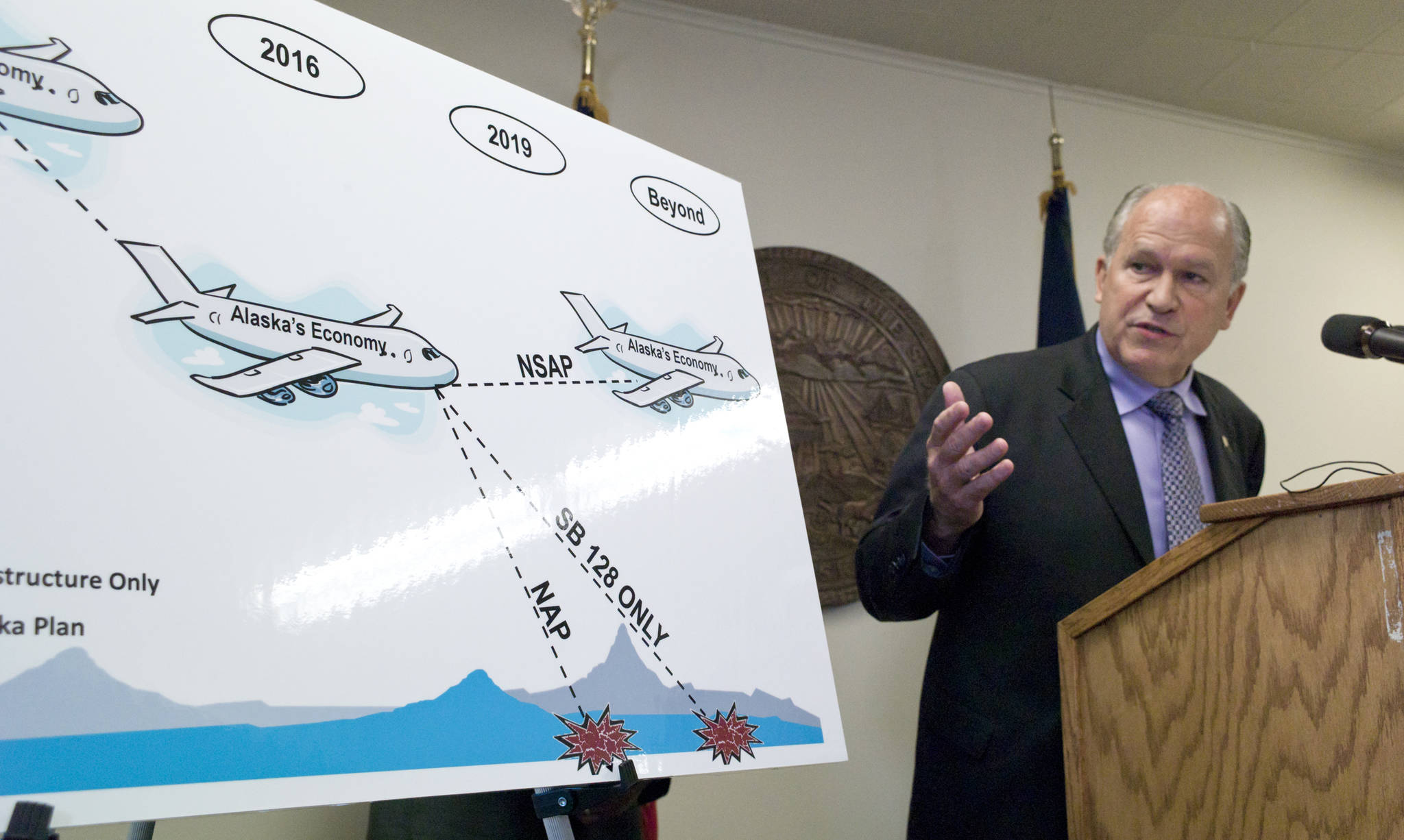 In this July 14, 2016 photo, Gov. Bill Walker points to a chart during a press conference that uses a crashing jet to show possible scenarios for Alaska economy if the legislature fails to act during its special session. (Michael Penn | Juneau Empire File)