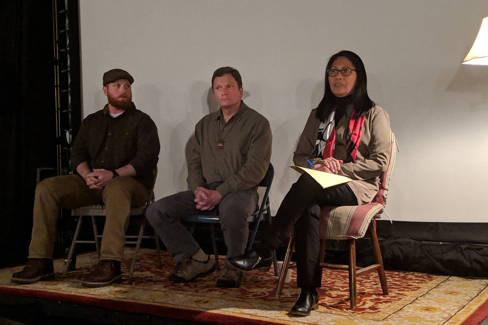 "Luke Holton, University of Alaska associate professor of anthropology Dan Monteith, and Douglas Indian Association Council Member Barbara Cadiente-Nelson were part of a panel discussion after a screening of Bolton's film, ""Sayéik"" Wednesday Nov. 28 at the Gold Town Nickelodeon. (Ben Hohenstatt 