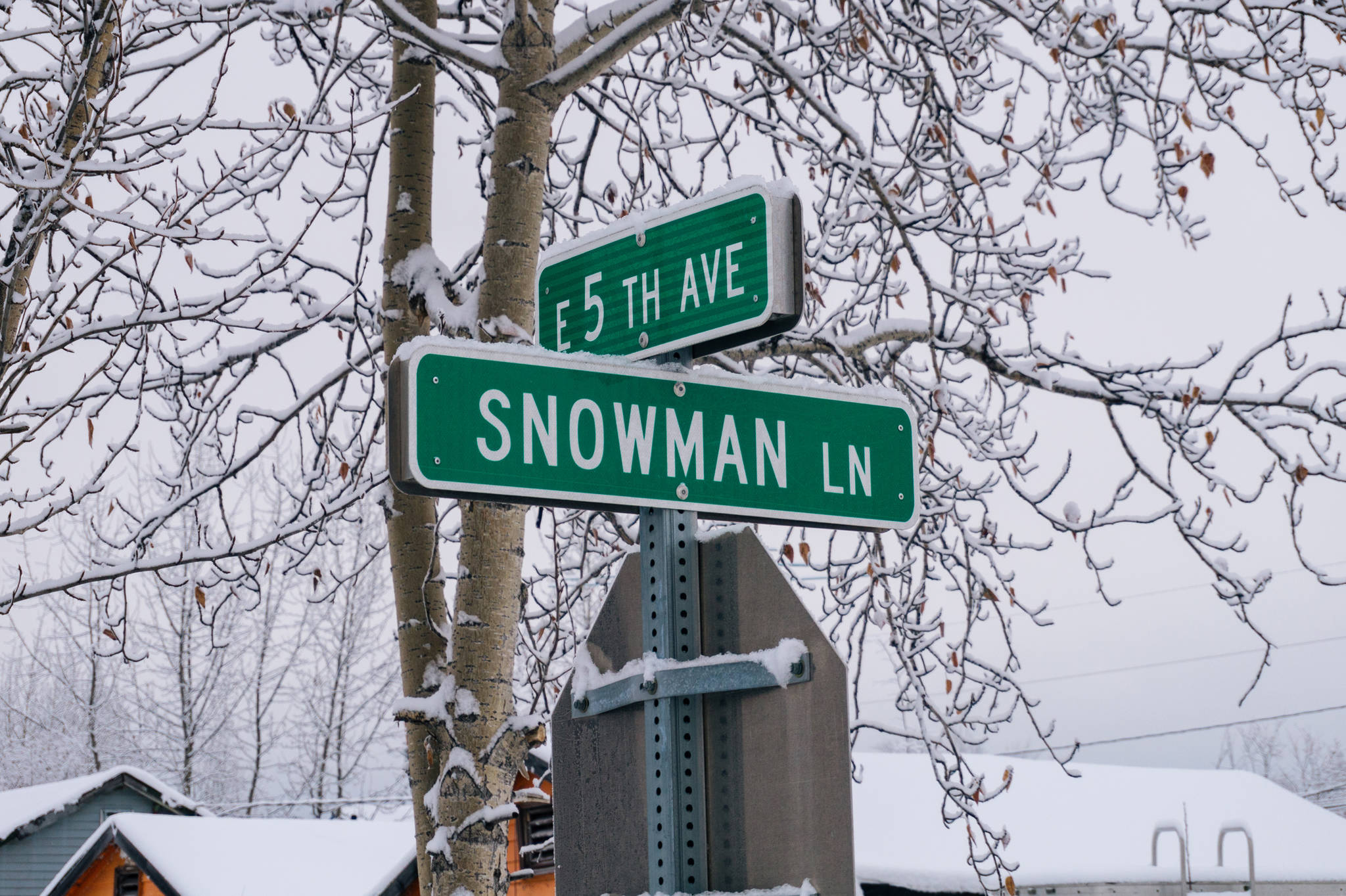 Snowman Lane street sign in North Pole Alaska. (Gabe Donohoe | For the Juneau Empire)
