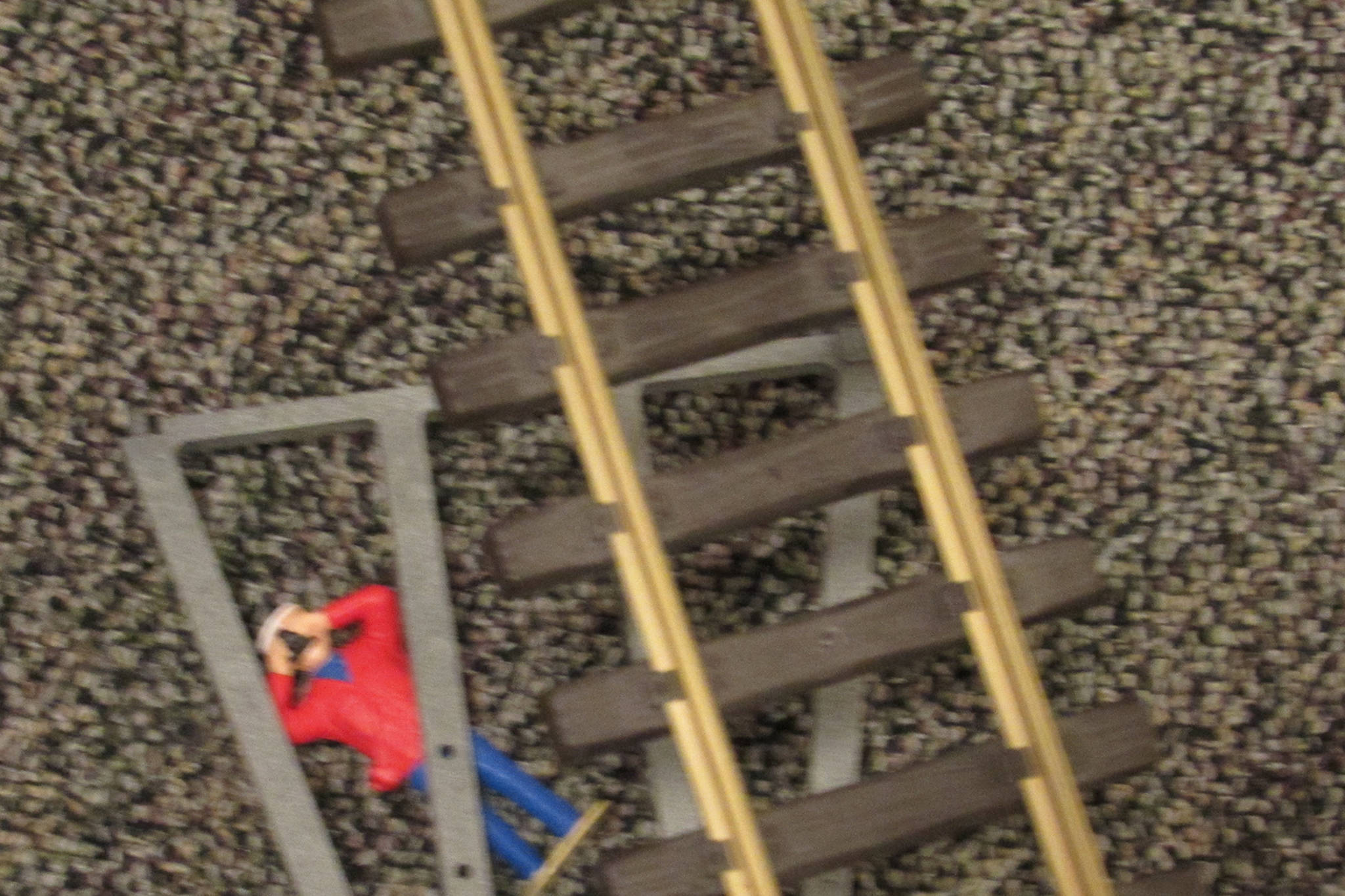 A casualty of the model railroad industry on the floor of the Juneau-Douglas City Museum, Saturday, Dec. 22, 2018. (Ben Hohenstatt | Capital City Weekly)