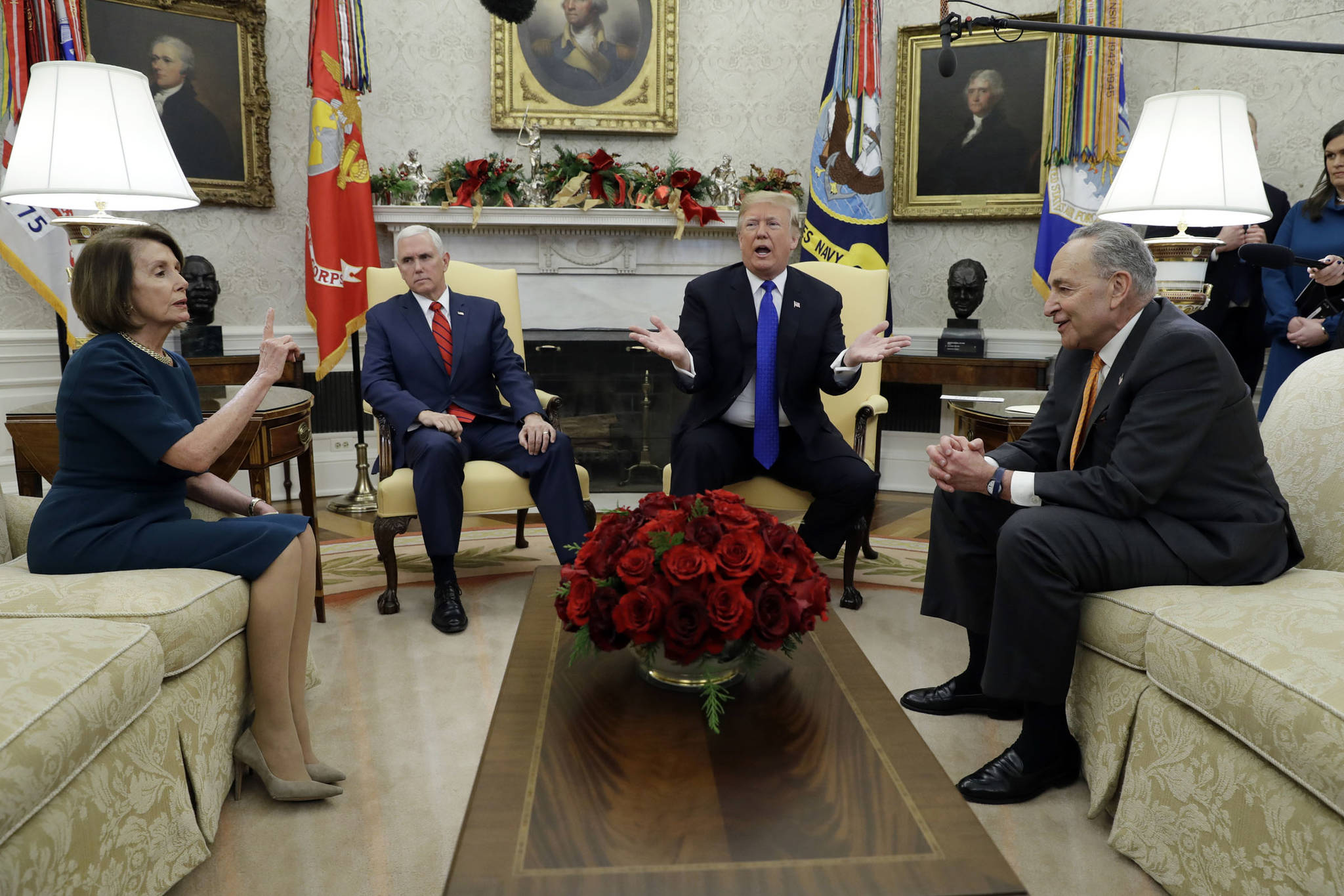 President Donald Trump and Vice President Mike Pence, second left, meet with Senate Minority Leader Chuck Schumer, D-N.Y., right, and House Minority Leader Nancy Pelosi, D-Calif., in the Oval Office of the White House on Tuesday, Dec. 11, 2018 in Washington, D.C. (Evan Vucci | Associated Press File)