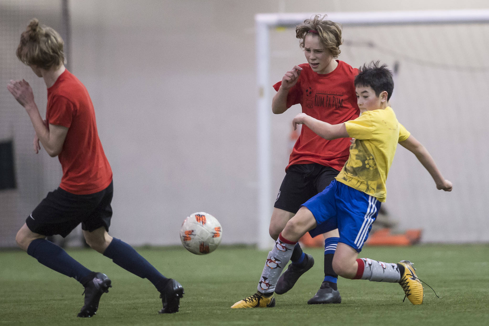 IceKickles play against the Rum Pa Pum at the annual Holiday Cup Soccer Tournament at the Wells Fargo Dimond Park Field House on Wednesday, Dec. 26, 2018. (Michael Penn | Juneau Empire)