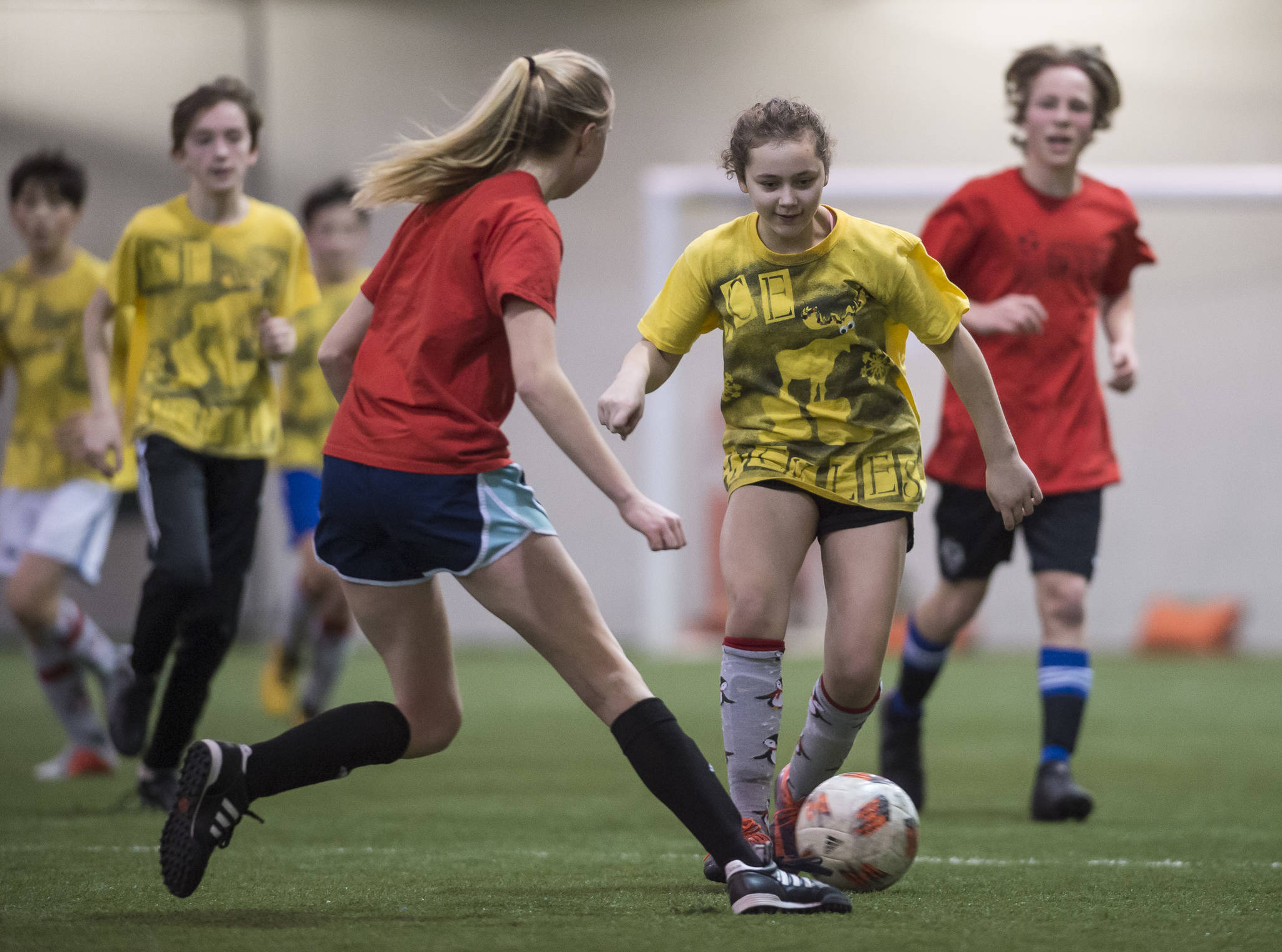 IceKickles play against the Rum Pa Pum at the annual Holiday Cup Soccer Tournament at the Wells Fargo Dimond Park Field House on Wednesday, Dec. 26, 2018. (Michael Penn   Juneau Empire)