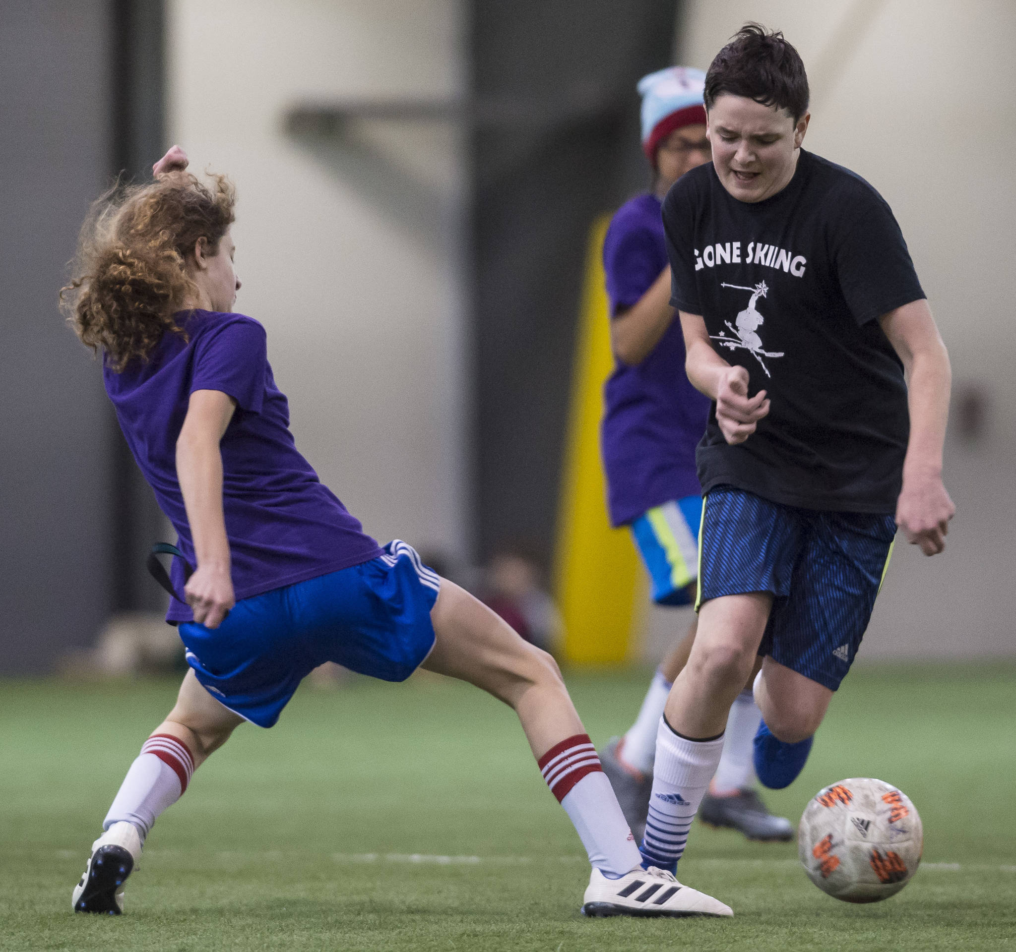 Grumpsicles play against Gone Skiing at the annual Holiday Cup Soccer Tournament at the Wells Fargo Dimond Park Field House on Wednesday, Dec. 26, 2018. (Michael Penn | Juneau Empire)