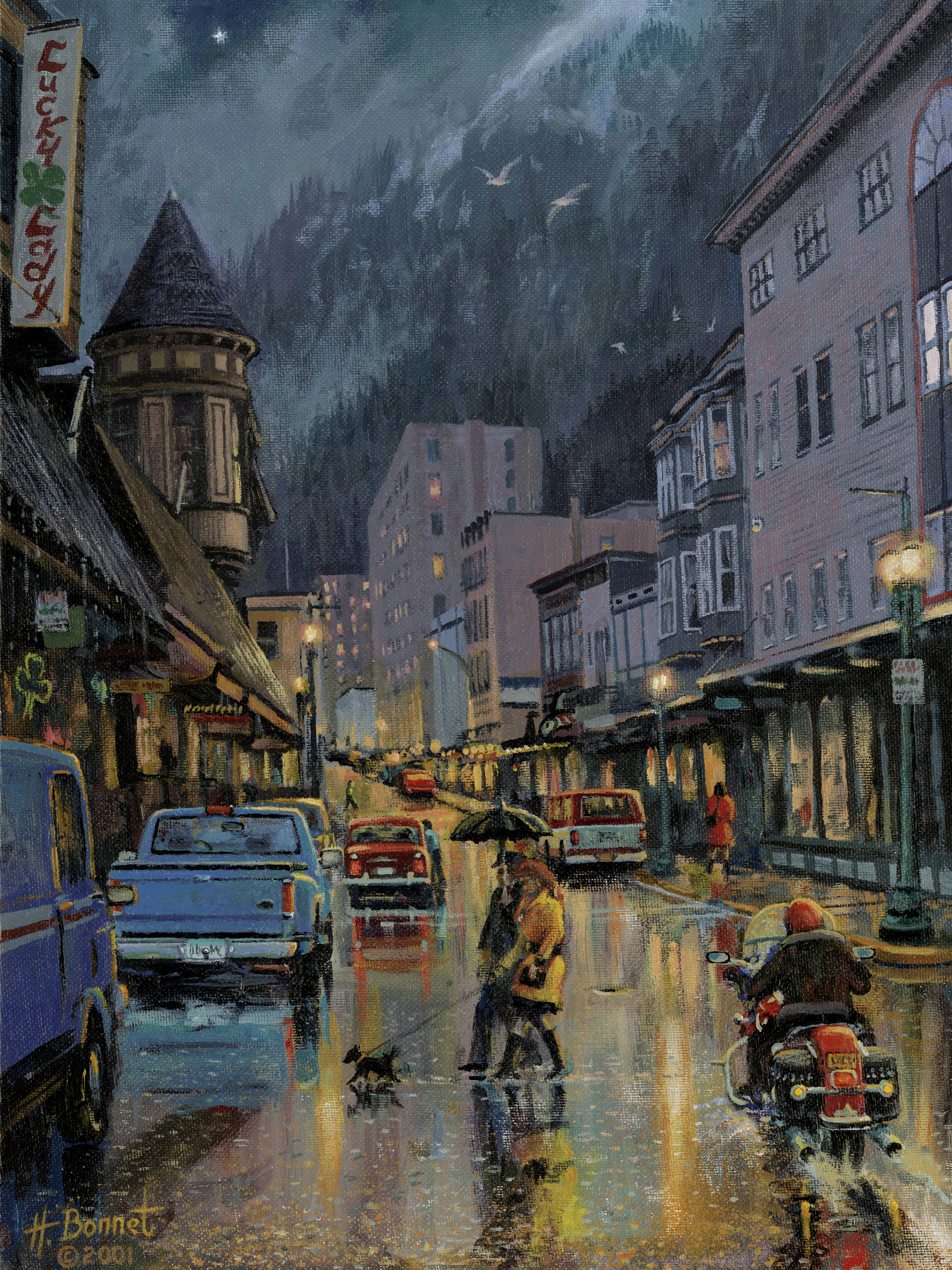 "Prints of ""Rainy Night in Juneau"" by Herb Bonnet keep the late Juneau artist's work in the public eye. (Courtesy Photo 
