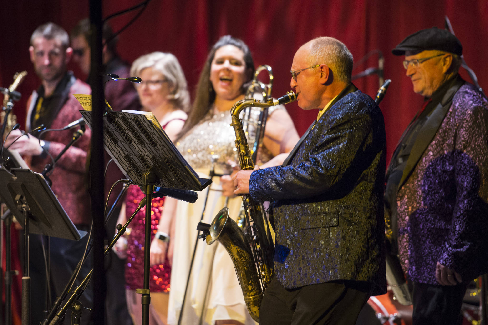 Saxophonist Doug Bridges performs a solo with the Gamble & High Costa Livin' during the New Year's Eve Gala at Centennial Hall on Monday, Dec. 31, 2018. The event was a fundraiser for the Juneau Arts and Humanities Council and Juneau Jazz & Classics. (Michael Penn   Juneau Empire)
