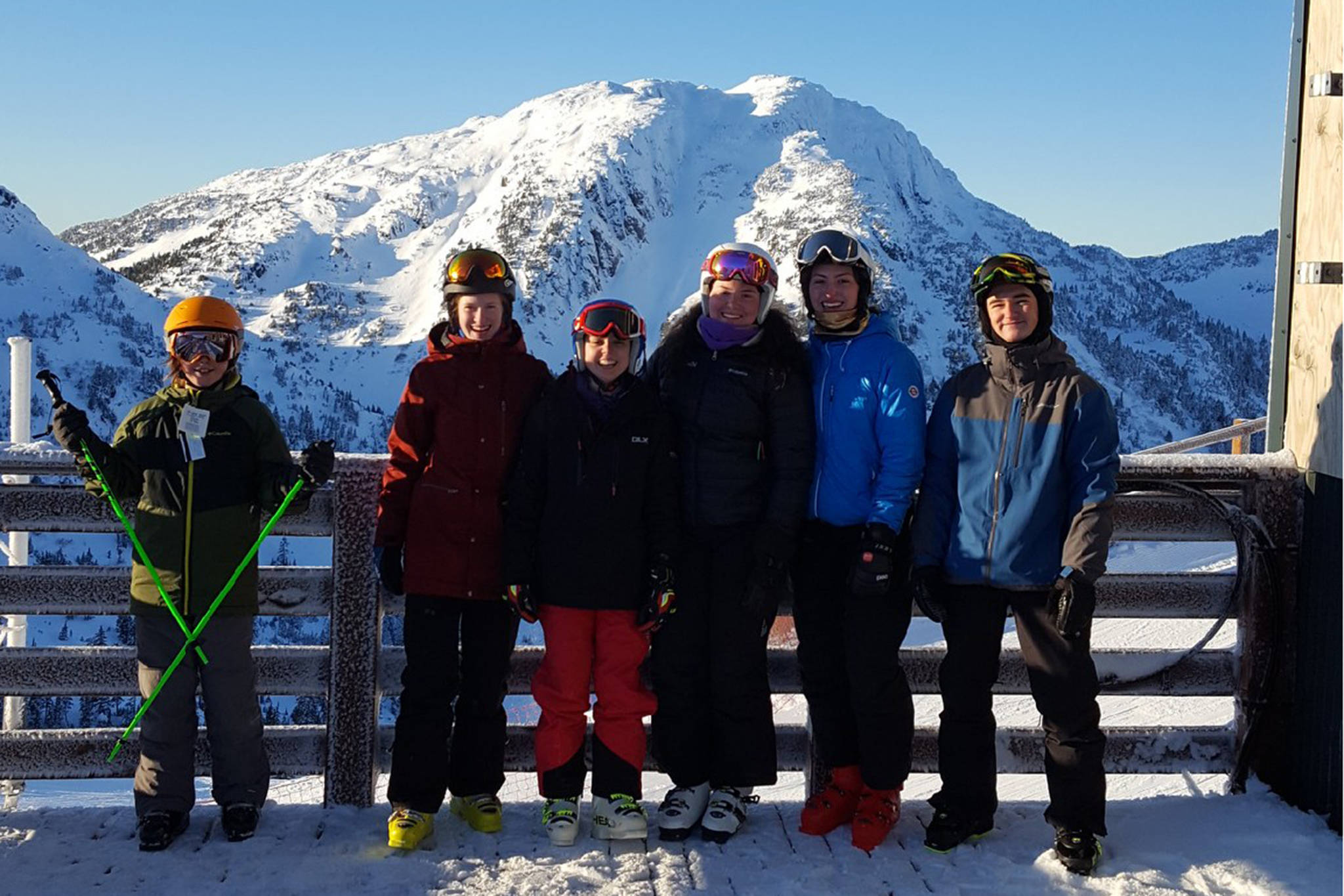 The Juneau Ski Club's FreeRide Team on the top of Eaglecrest on Saturday. Left to right: Eero Wooldord, McKenna McNutt, Sophia Caputo, Gabi Griggs, JoJo Griggs, Austin Smith. (Courtesy Photo | Randy Bates).