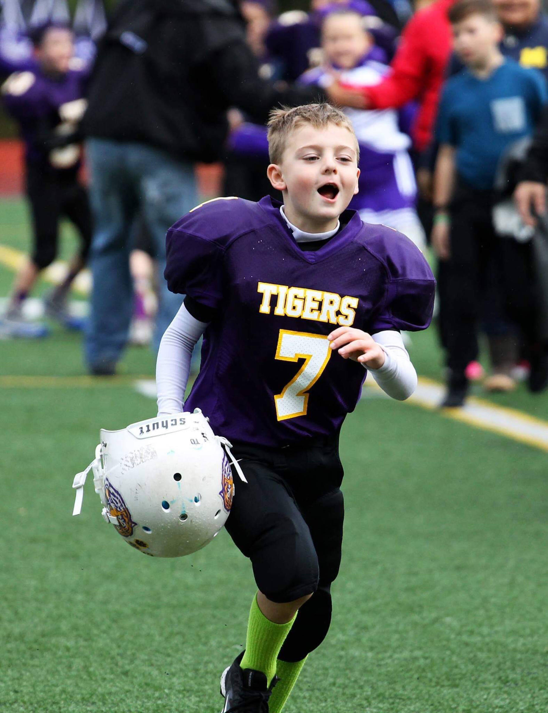 Camdyn Clancy pictured during a 2018 Juneau Youth Football League game. (Courtesy Photo   Deb Baker)