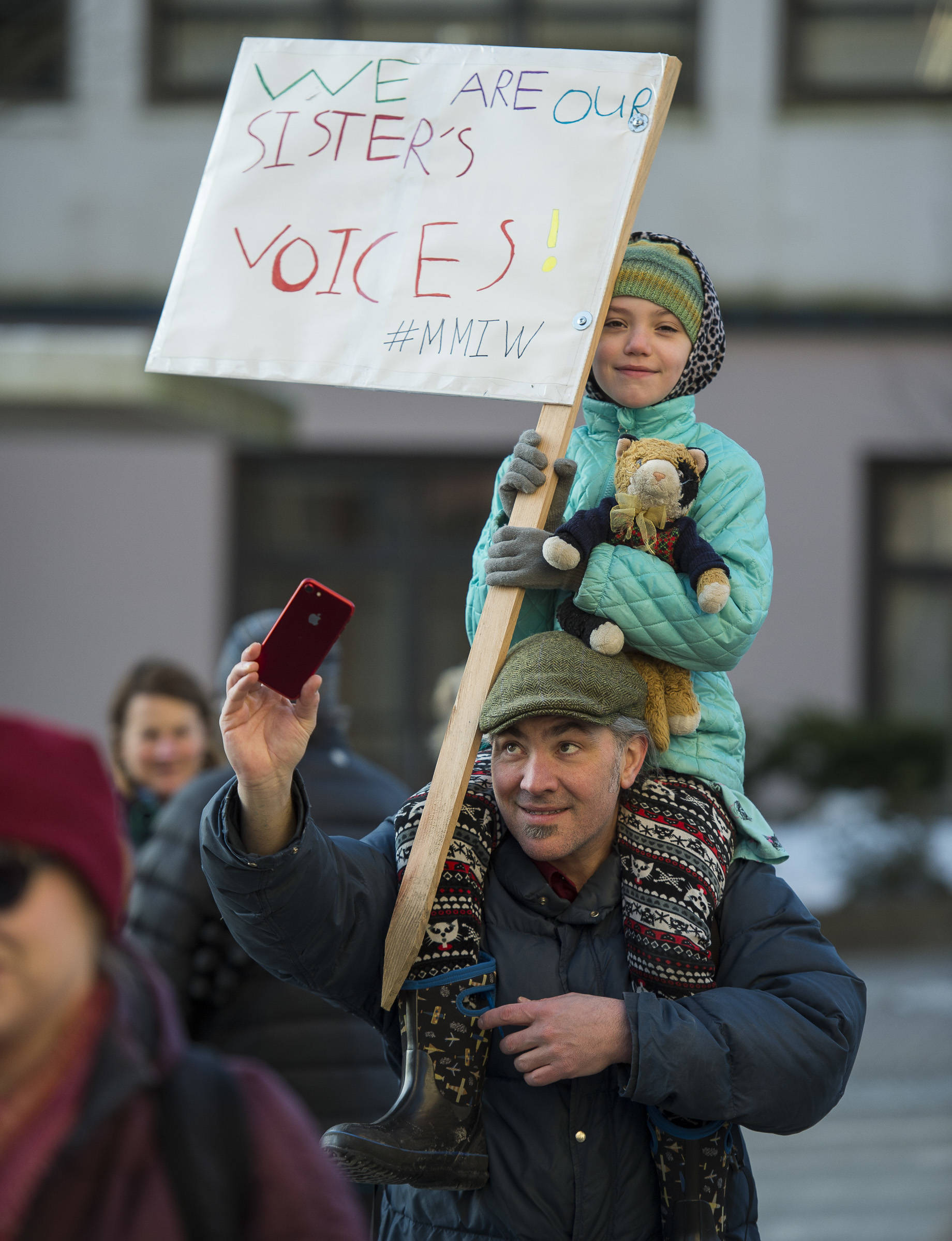 Scenes from the Women's March on Juneau in front of the Alaska State Capitol on Saturday, Jan. 19, 2019. (Michael Penn | Juneau Empire)