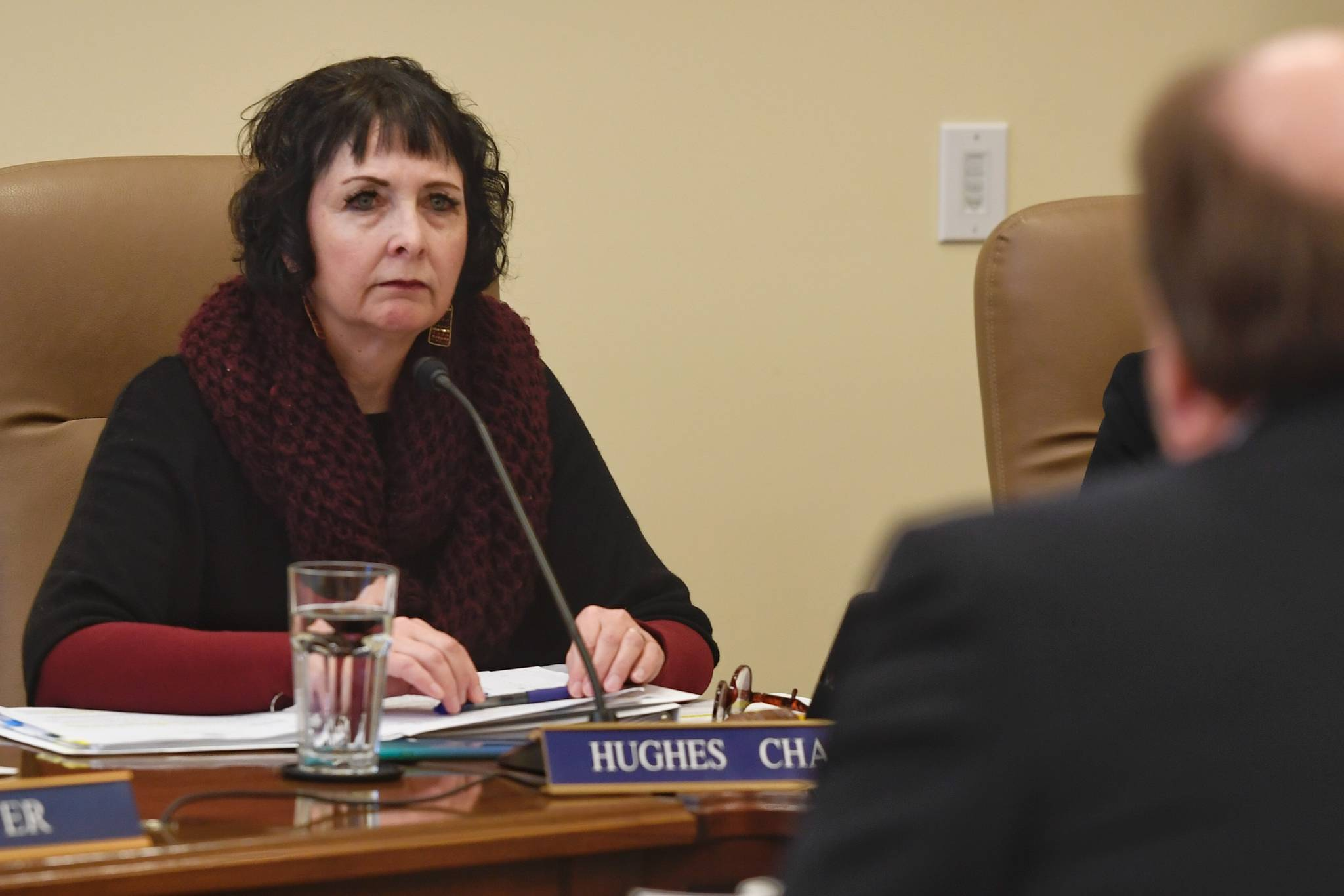 Senate Judiciary Committee Chair Sen. Shelley Hughes, R-Wasilla, listens to Attorney General Kevin Clarkson speak about Gov. Mike Dunleavy's four crime bills at the Capitol on Wednesday, Feb. 6, 2019. (Michael Penn | Juneau Empire)