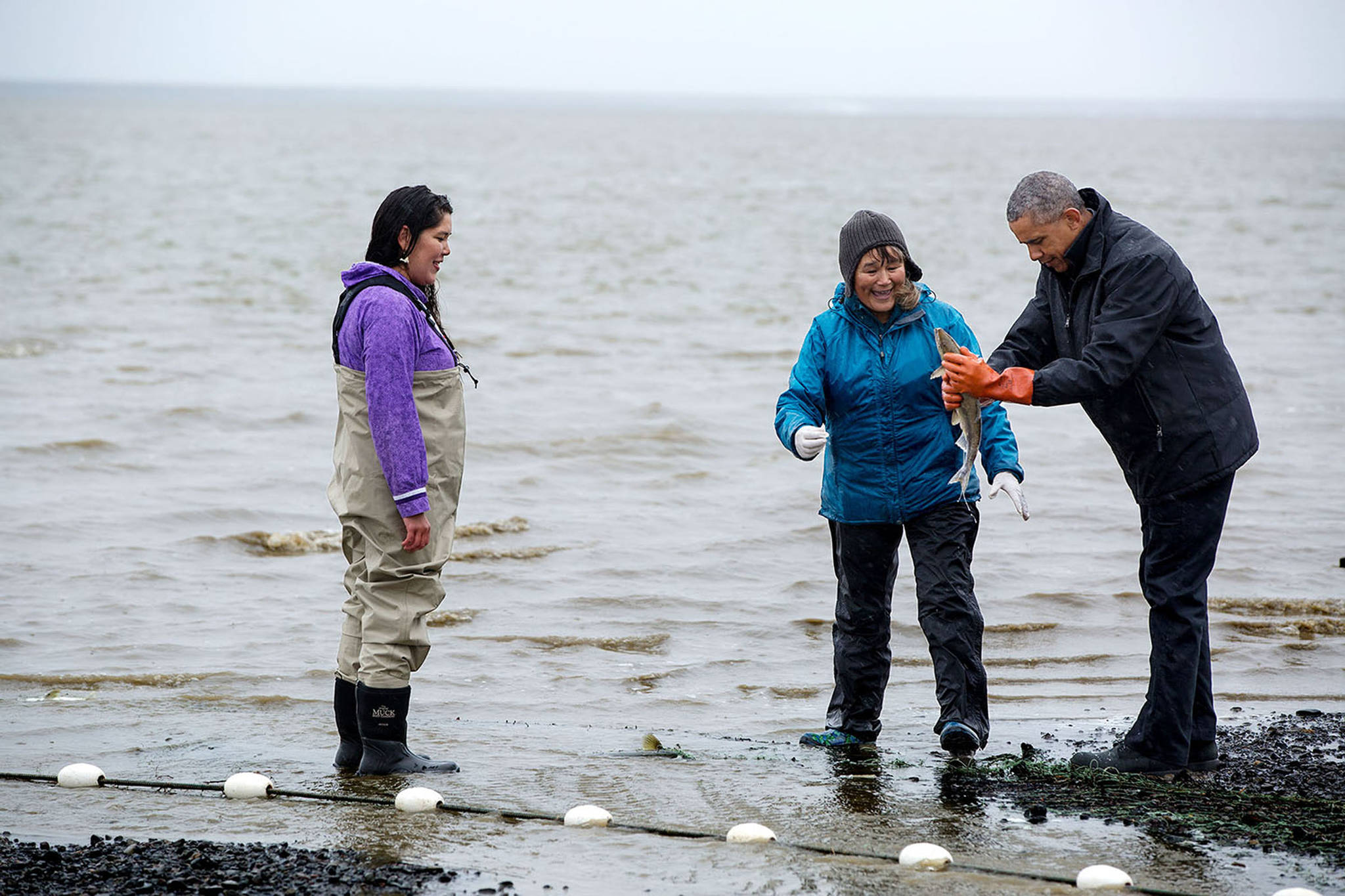 In this September 2, 2015 photo, former President Barack Obama with two Alaskans and a soon-to-be-viral spawning salmon on Kanakanak Beach in Dillingham, Alaska. (Courtesy Photo | The White House)