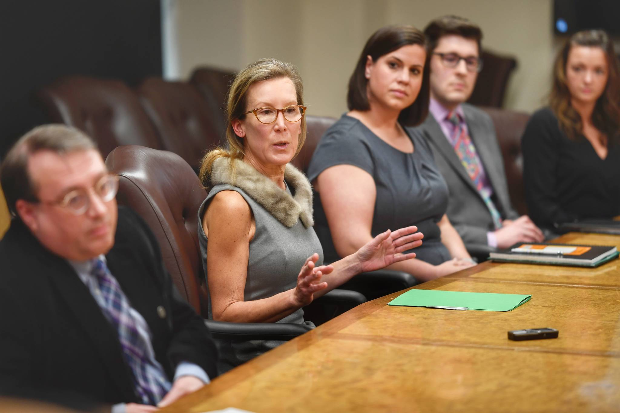 Office of Management and Budget Director Donna Arduin and members of her budget team takes time to explain Gov. Mike Dunleavy's state budget at the Capitol on Wednesday, Feb. 13, 2019. (Michael Penn | Juneau Empire)