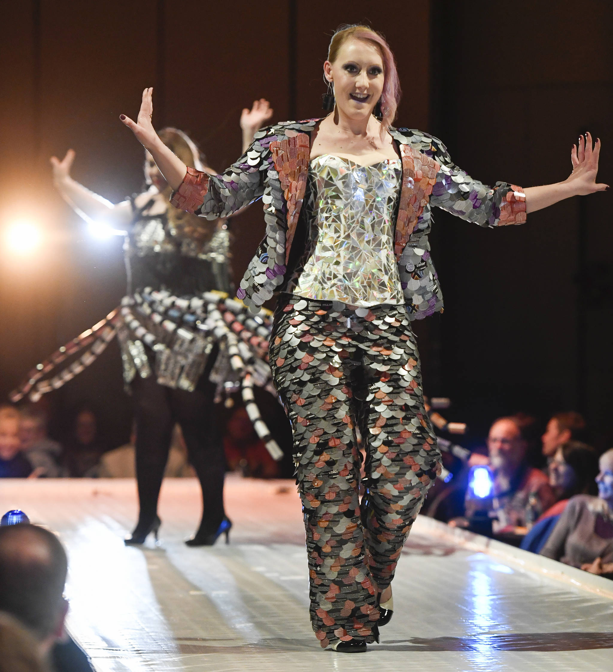 """Brandi Campbell and Jillian Ferguson model Campbell's """"Color Me Pretty"""" at the Wearable Art show at Centennial Hall on Saturday, Feb. 16, 2019. (Michael Penn 
