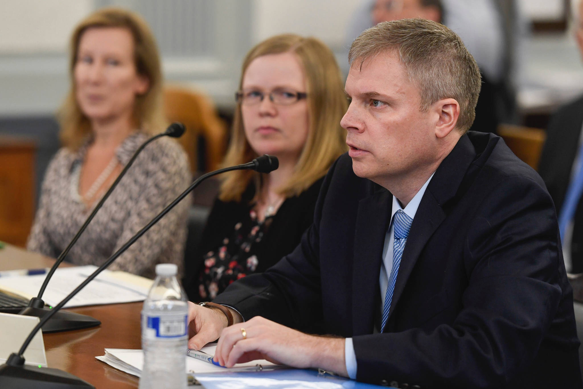 Dr. Michael Johnson, Commissioner of Alaska Department of Education and Early Development, speaks about a reduced funding for education to the Senate Finance Committee at the Capitol on Monday Feb. 18, 2019. (Michael Penn ι Juneau Empire)