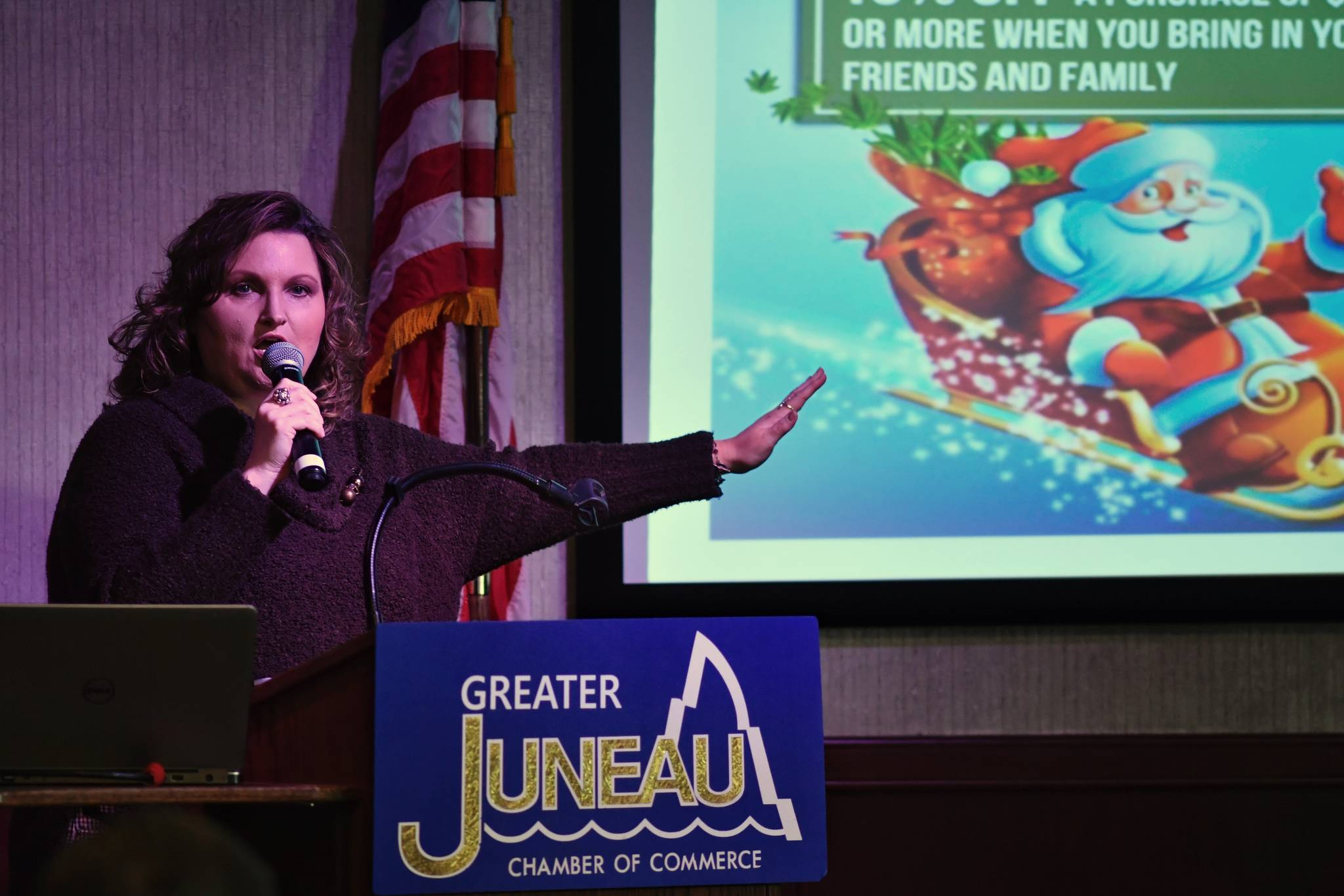 Jo McGuire, Senior Project Manager of Tongass Substance Screening Inc., speaks to the Juneau Chamber of Commerce during their weekly luncheon at Hangar Ballroom on Thursday, March 7, 2019. (Michael Penn | Juneau Empire)