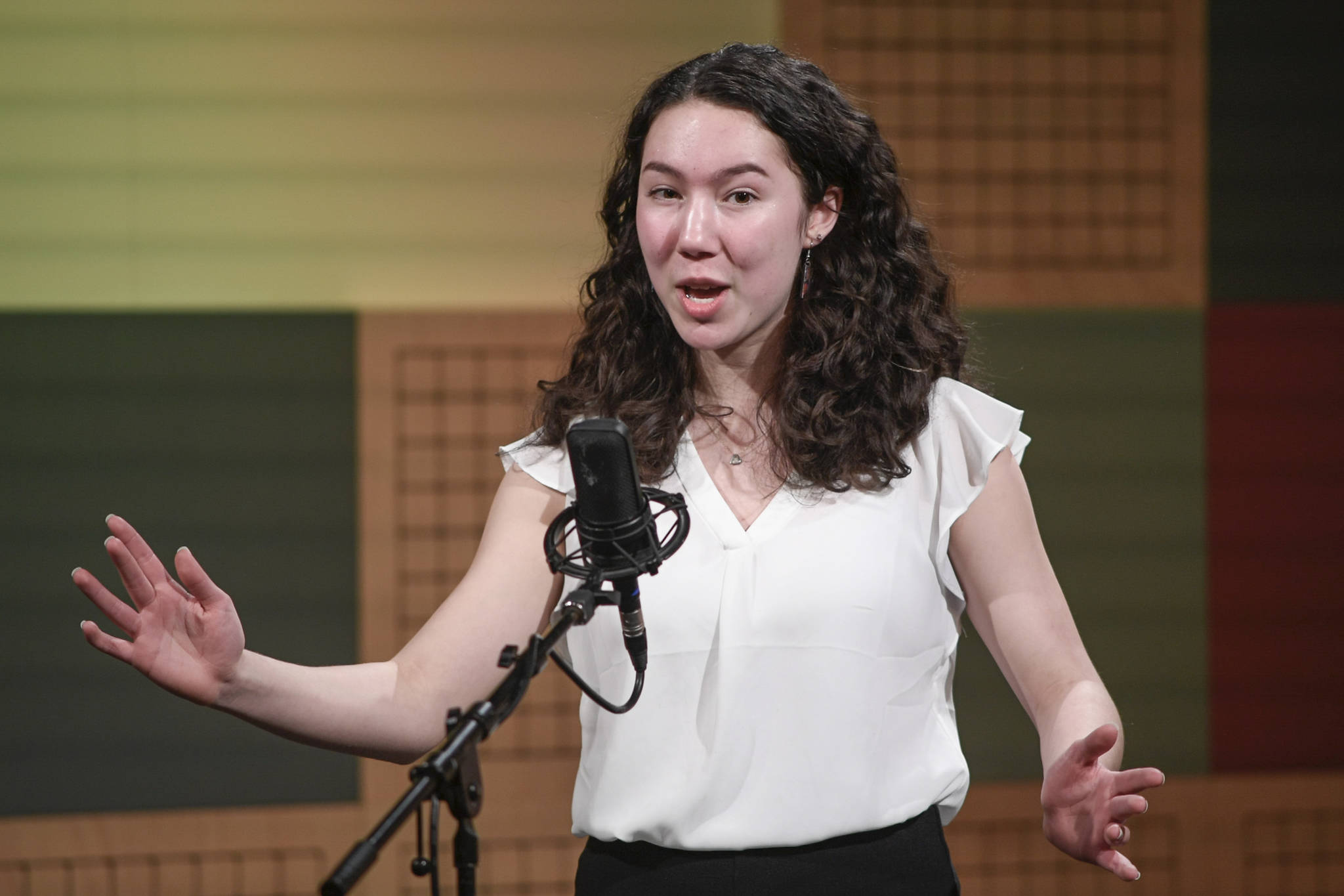 Natalie</span> Fraser of West Anchorage High School recites one of her three poems at the annual Poetry Out Loud State Championships held at KTOO's @360 Studio on Thursday, March 7, 2019. Fraser placed second in the event. (Michael Penn | Juneau Empire)