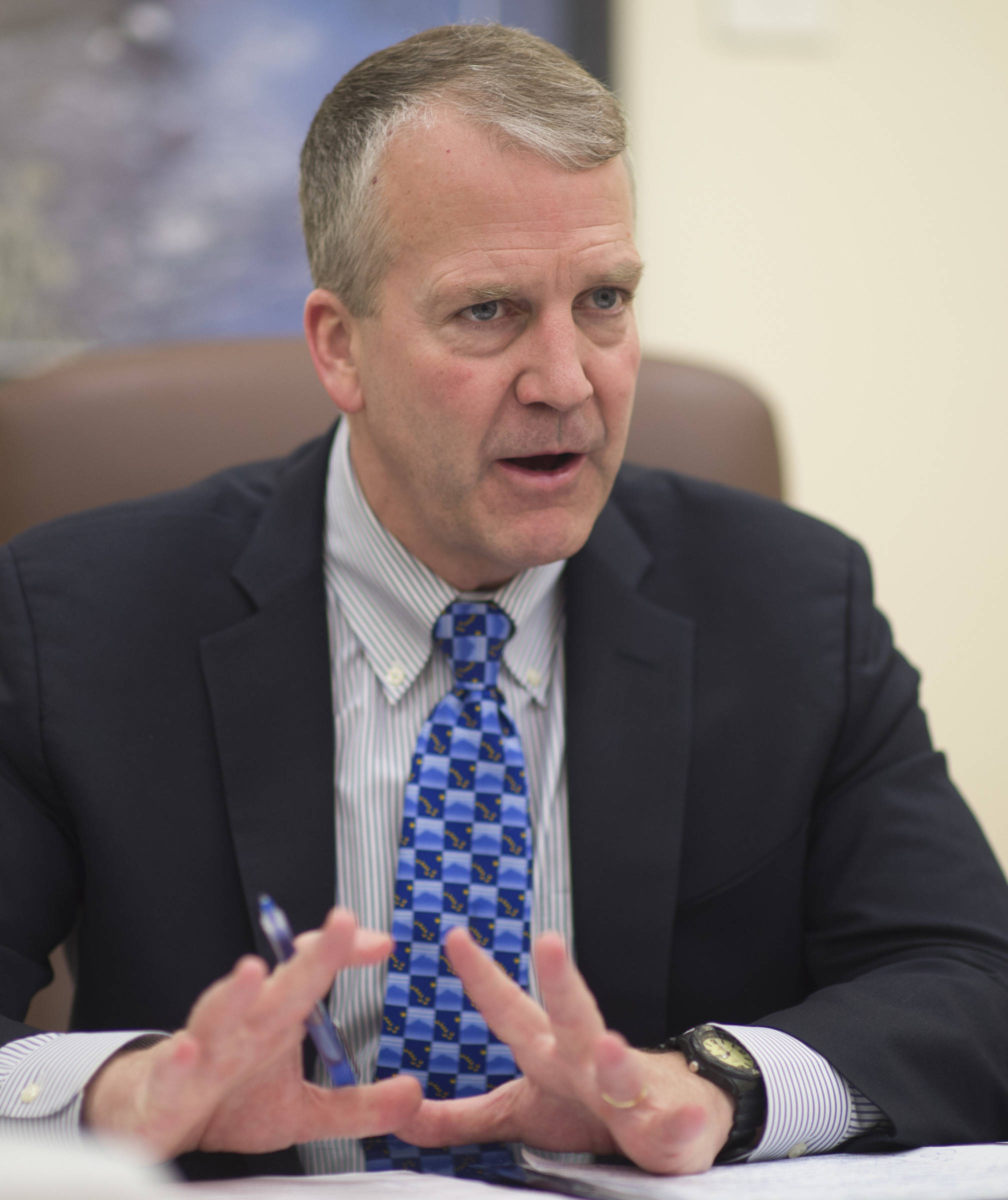 U.S. Sen. Dan Sullivan, R-Alaska, speaks during an interview with the Juneau Empire at the Capitol on Thursday, Feb. 21, 2019. (Michael Penn | Juneau Empire)