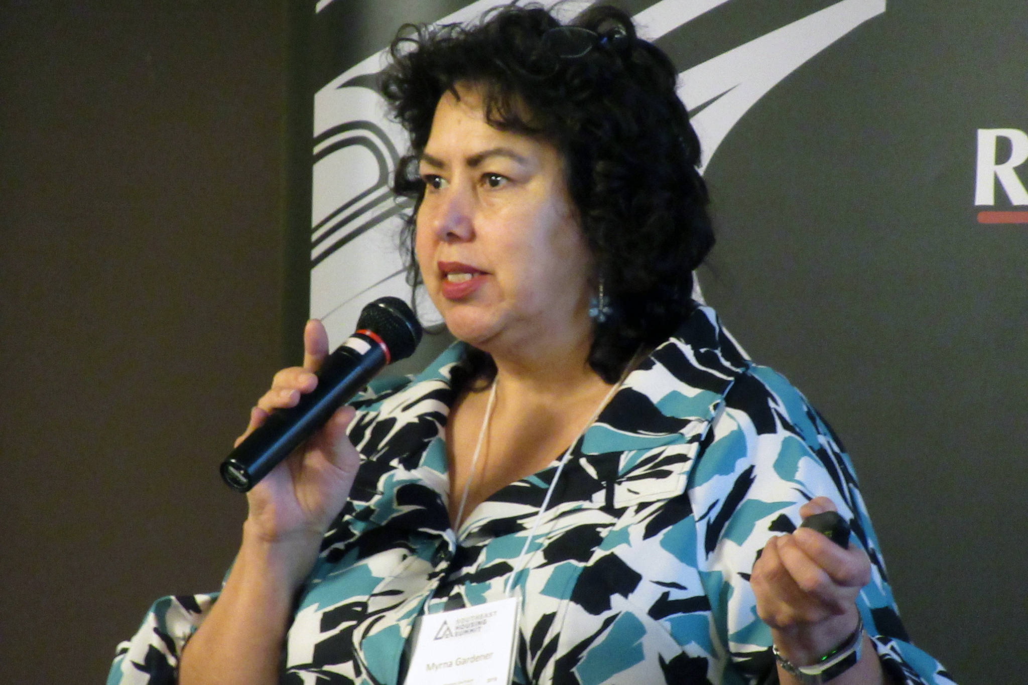 Myrna</span> Gardner, tribal partnership specialist for the U.S. Census Bureau, said Alaska's low census response rate is costing the state millions every year during a presentation at Southeast Housing Summit, Thursday, March 14, 2019. *Ben Hohenstatt | Juneau Empire)