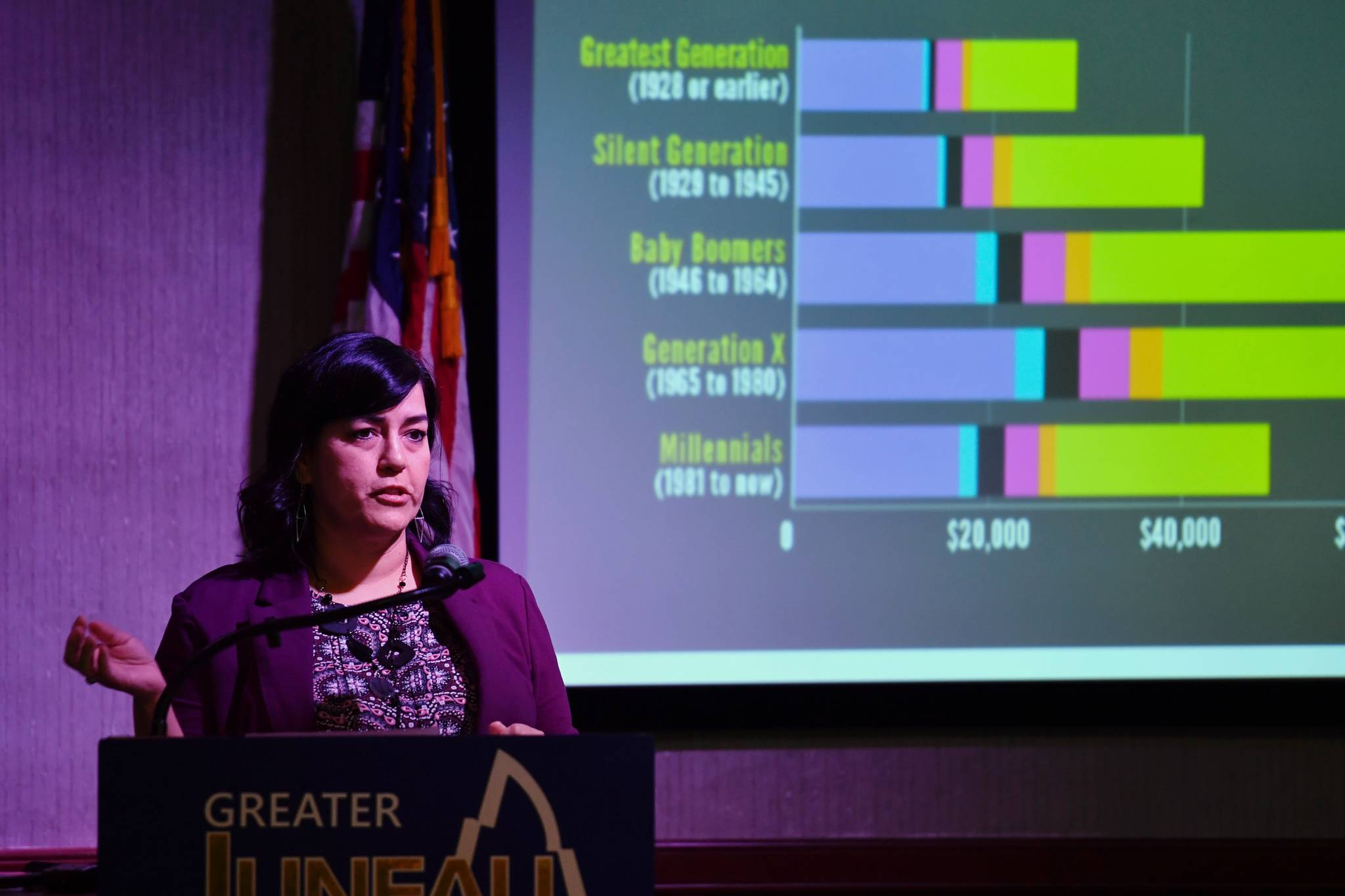Jennifer Adams, executive director of the Alaska Small Business Development Council, speaks about hot business trends to the Juneau Chamber of Commerce during its weekly luncheon at the Hangar Ballroom on Thursday, March 14, 2019. (Michael Penn | Juneau Empire)