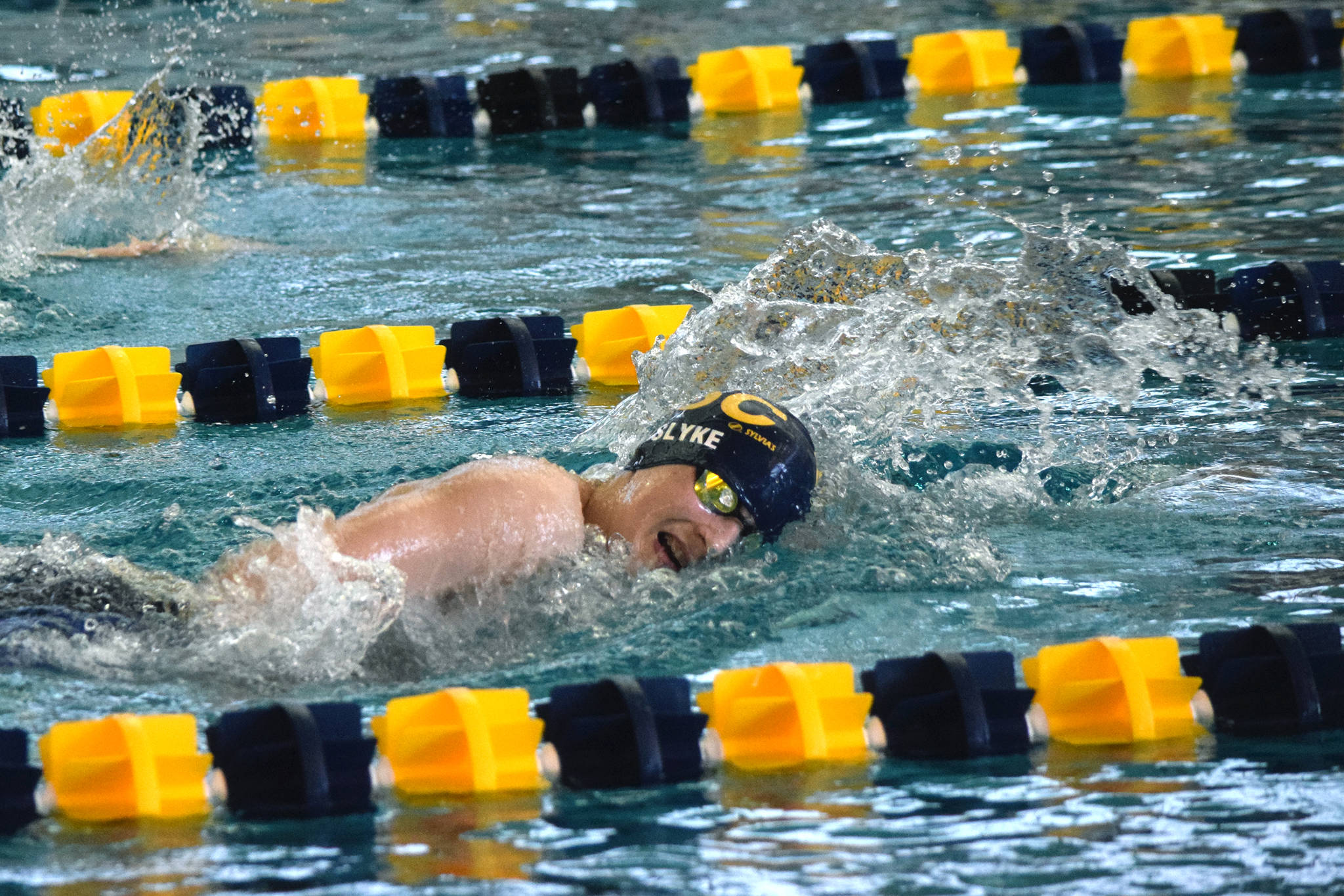 Glacier Swim Club's Chaz VanSlyke swims the 500-yard freestyle on the second day of the Savannah Cayce Southeast Championships at the Dimond Park Aquatic Center on Saturday, April 6, 2019. (Nolin Ainsworth | Juneau Empire)